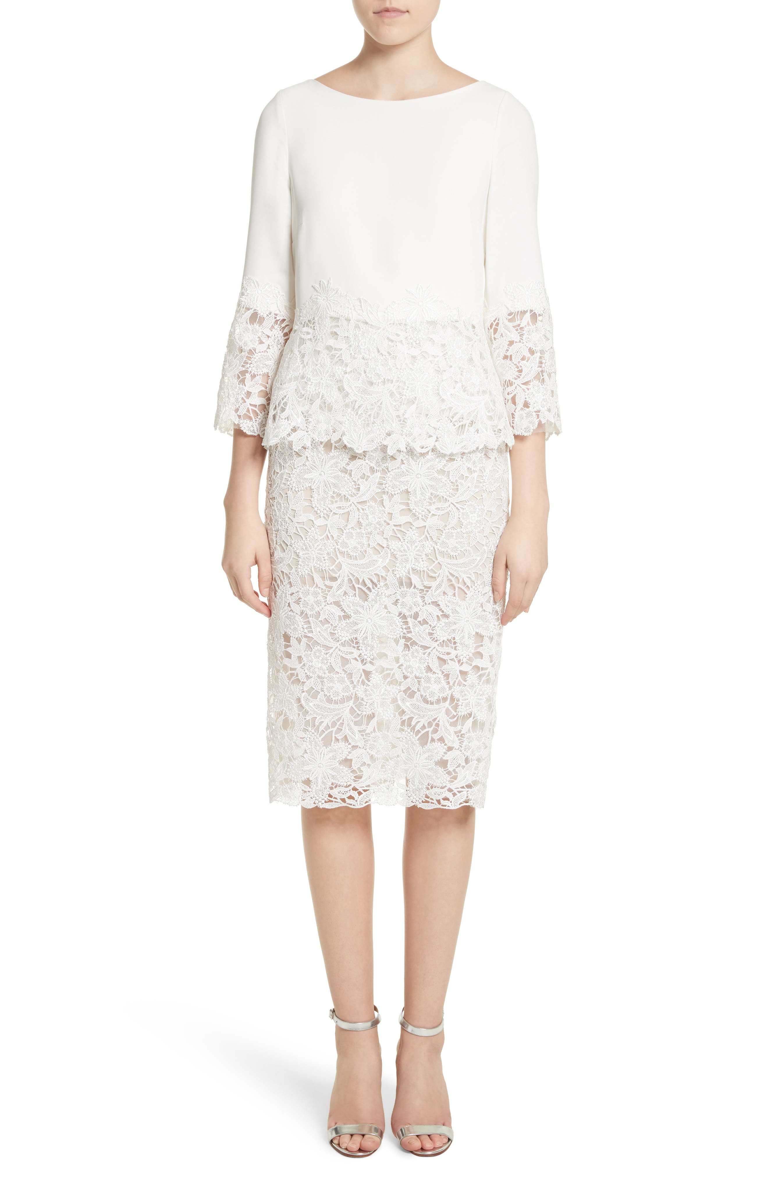 Crepe & Lace Top & Pencil Skirt,                         Main,                         color, Silk White