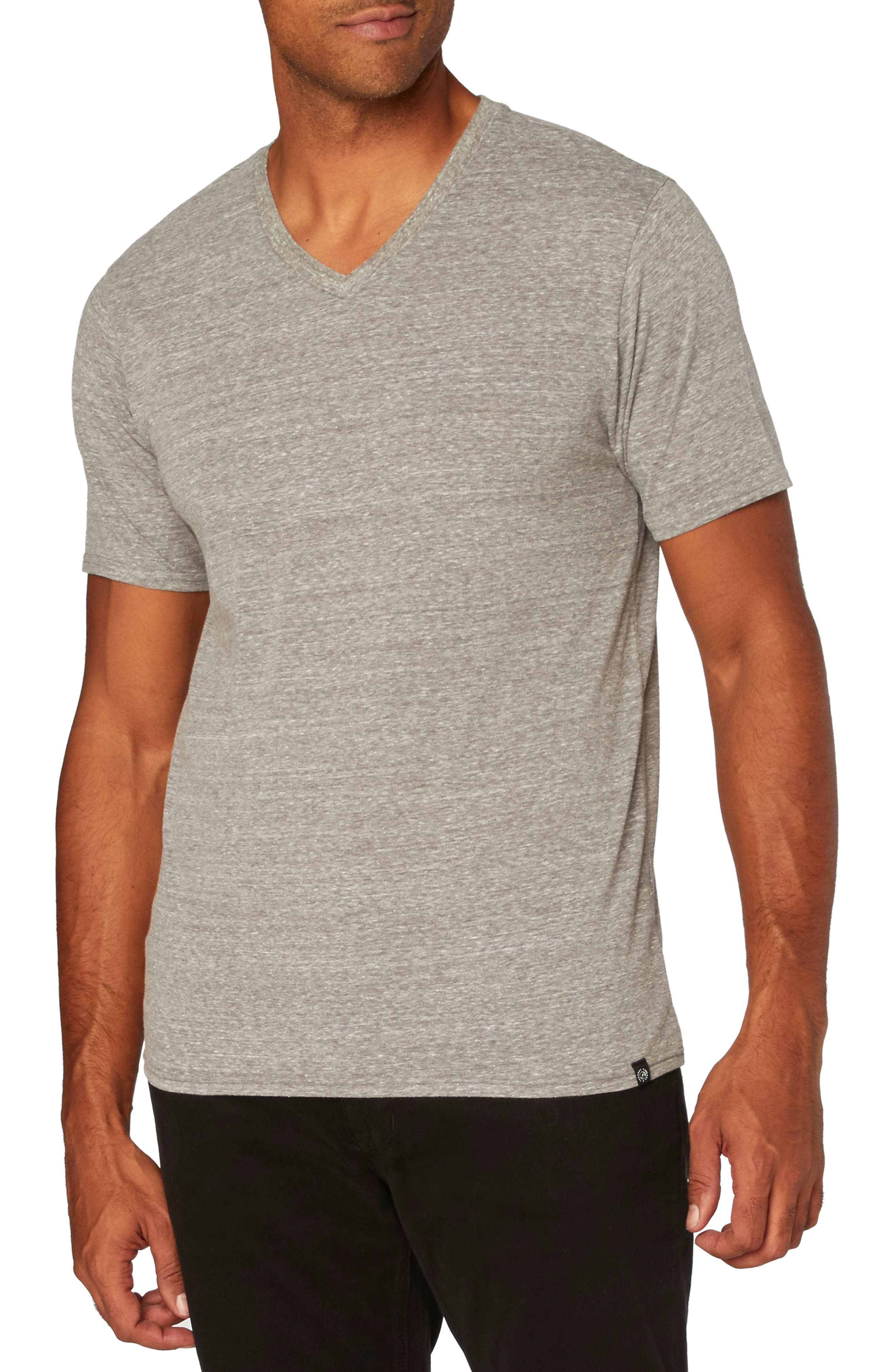 Threads for Thought Heather V-Neck,                         Main,                         color, Heather Grey