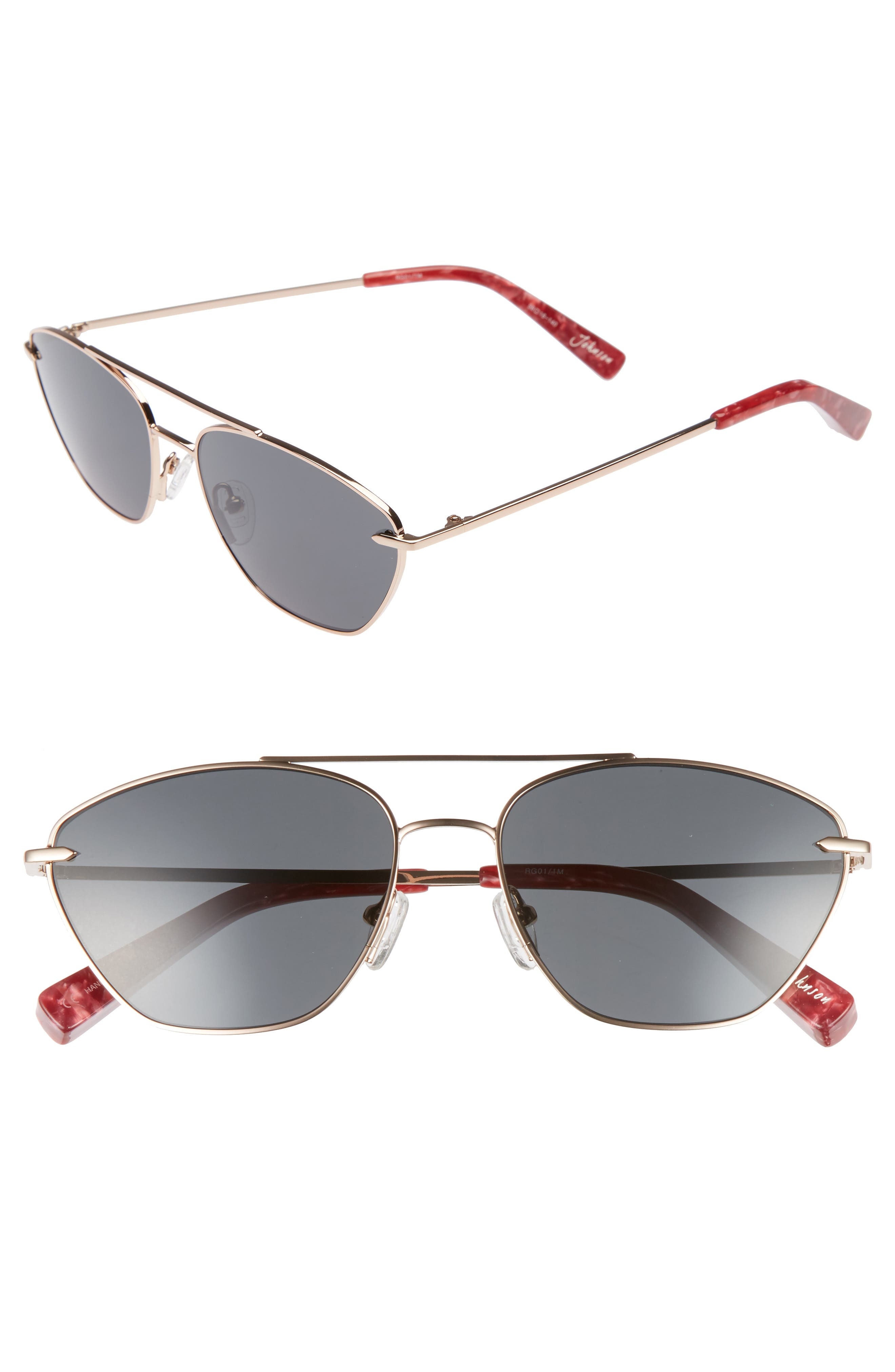 Johnson 56mm Navigator Sunglasses,                             Main thumbnail 1, color,                             Rose Gold/ Smoke