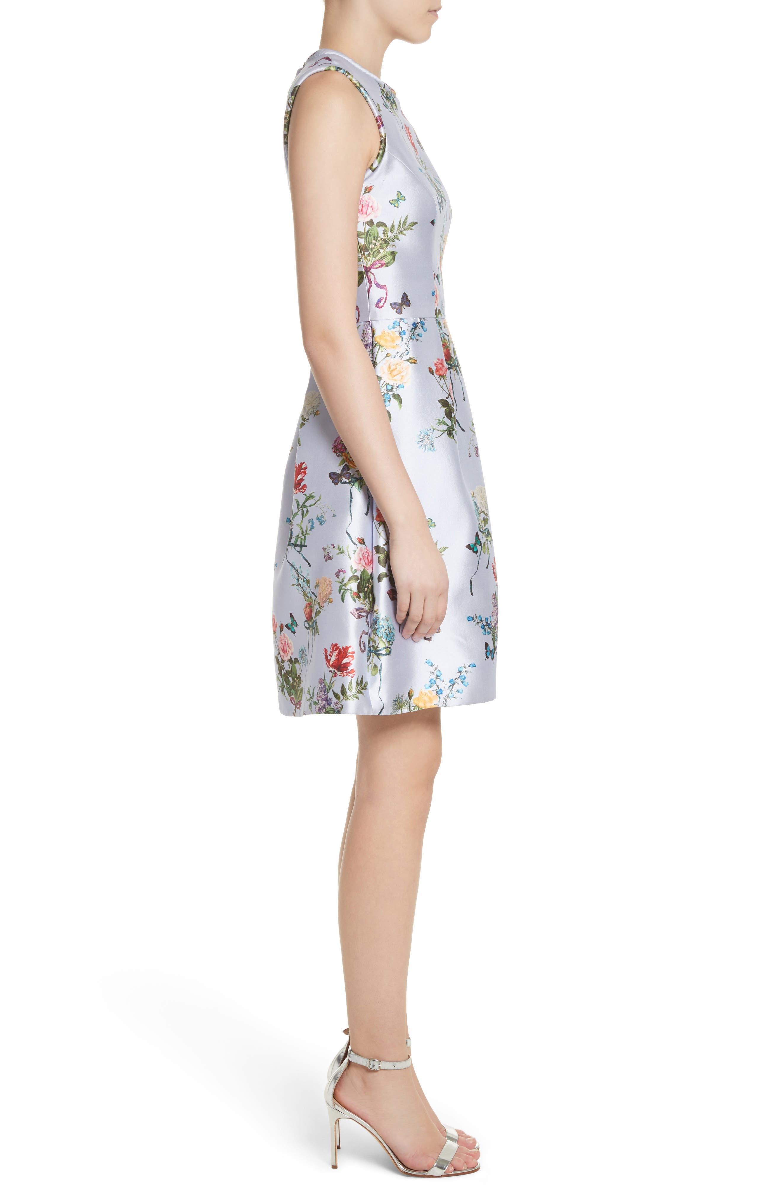 Botantical Print Structured Twill Dress,                             Alternate thumbnail 3, color,                             Lavender Multi