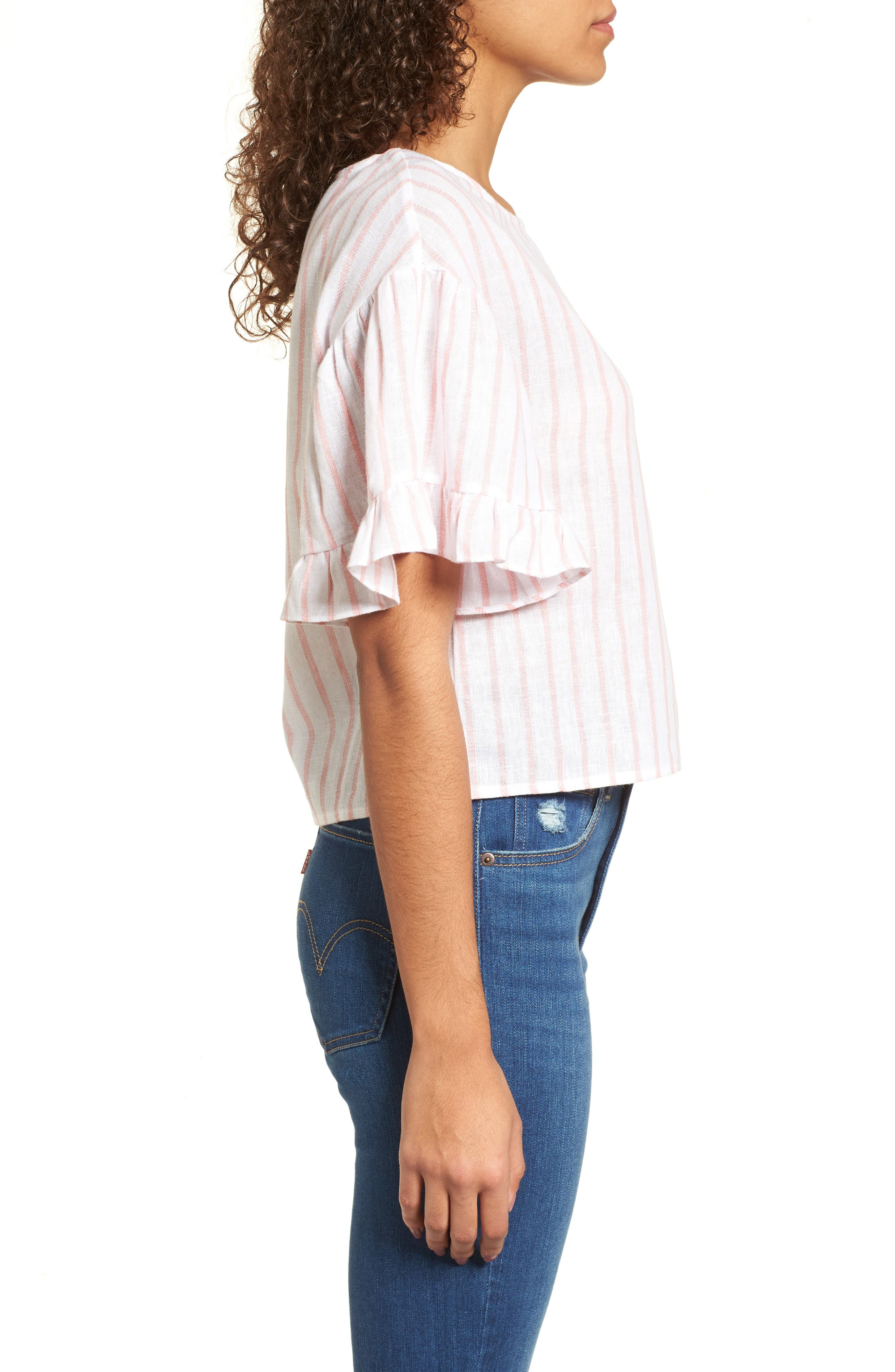 Ruffle Sleeve Linen Blend Crop Top,                             Alternate thumbnail 3, color,                             Pink Breath Katie Stripe