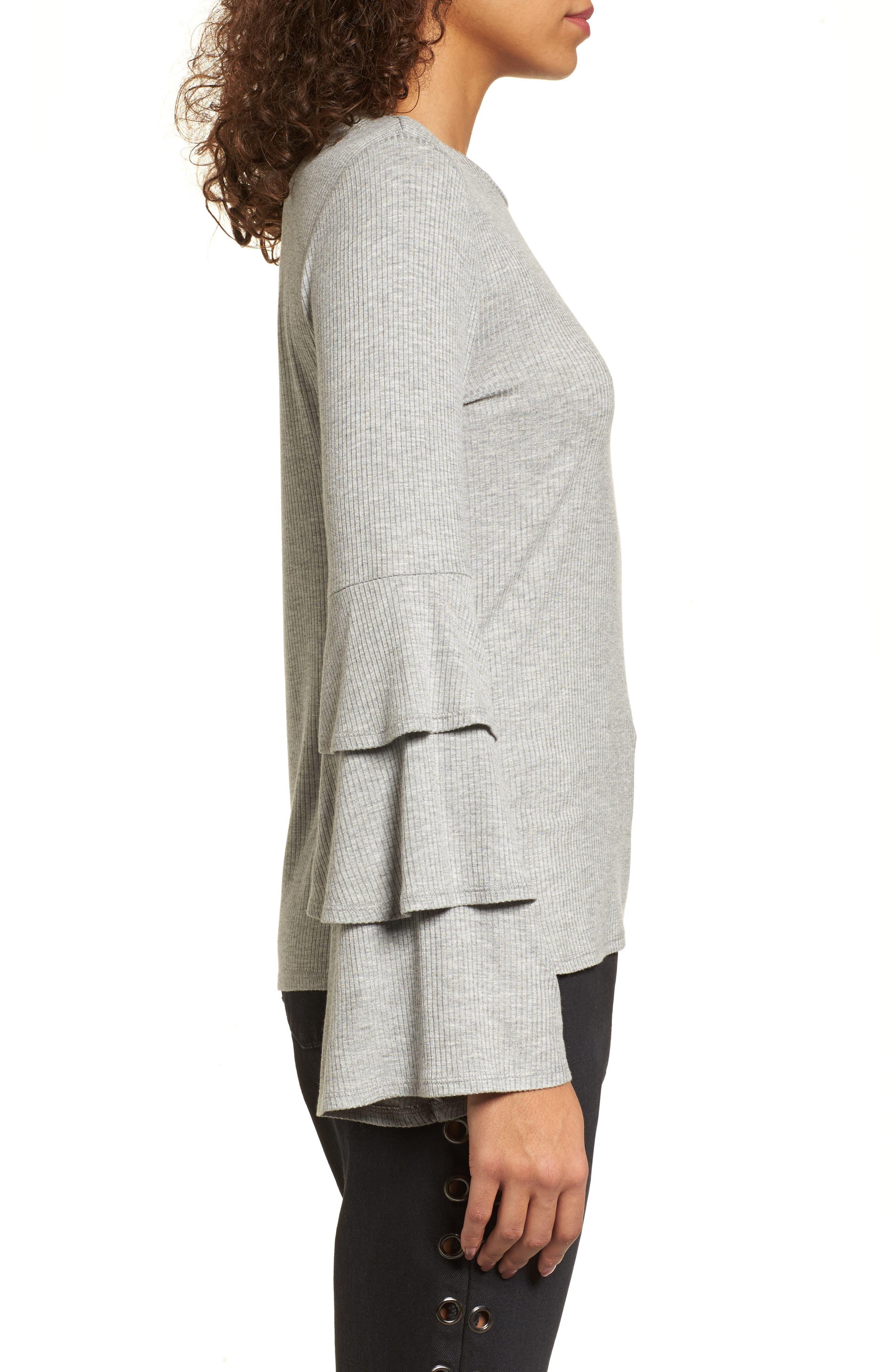 Ruffle Sleeve Ribbed Sweater,                             Alternate thumbnail 3, color,                             Grey Medium Heather
