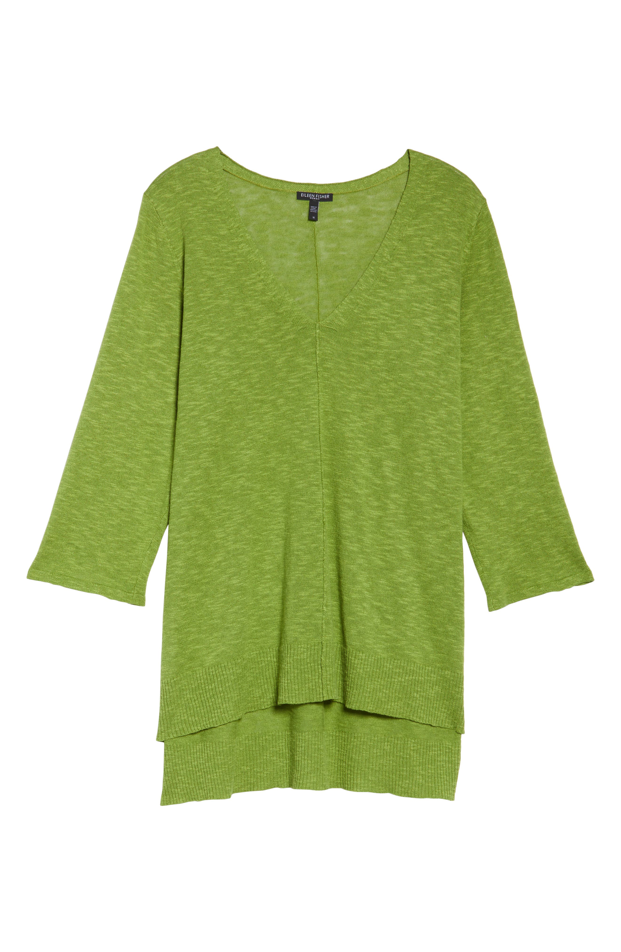 Main Image - Eileen Fisher Organic Linen & Cotton High/Low Sweater (Plus Size)