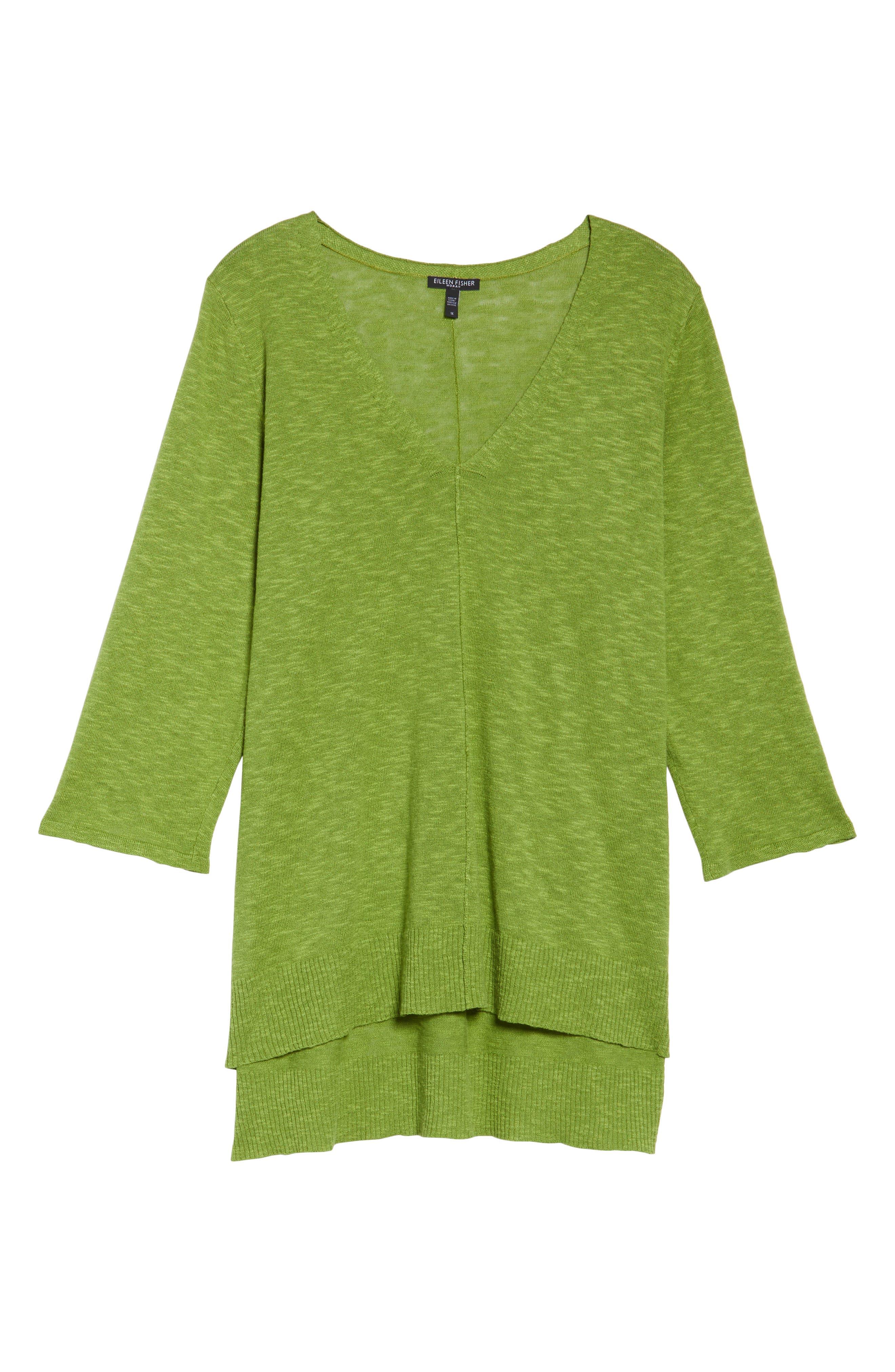 Organic Linen & Cotton High/Low Sweater,                         Main,                         color, Green Grass