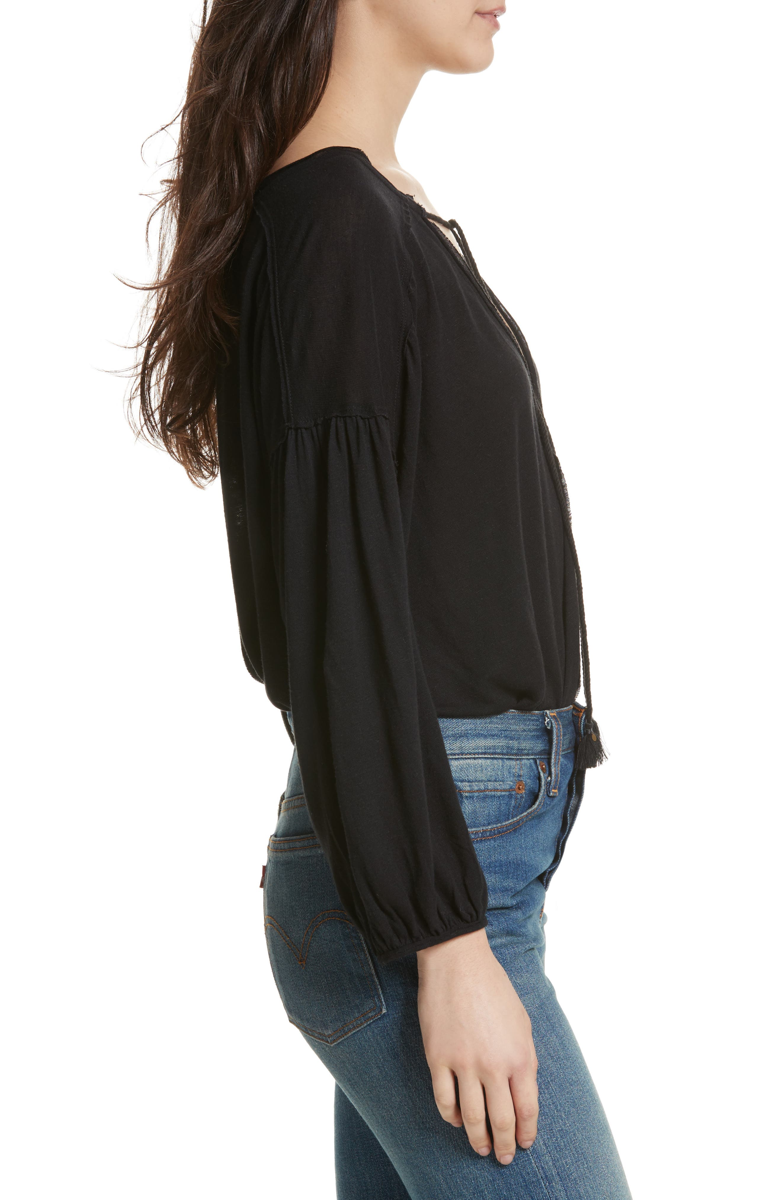 Just a Henley Top,                             Alternate thumbnail 3, color,                             Black
