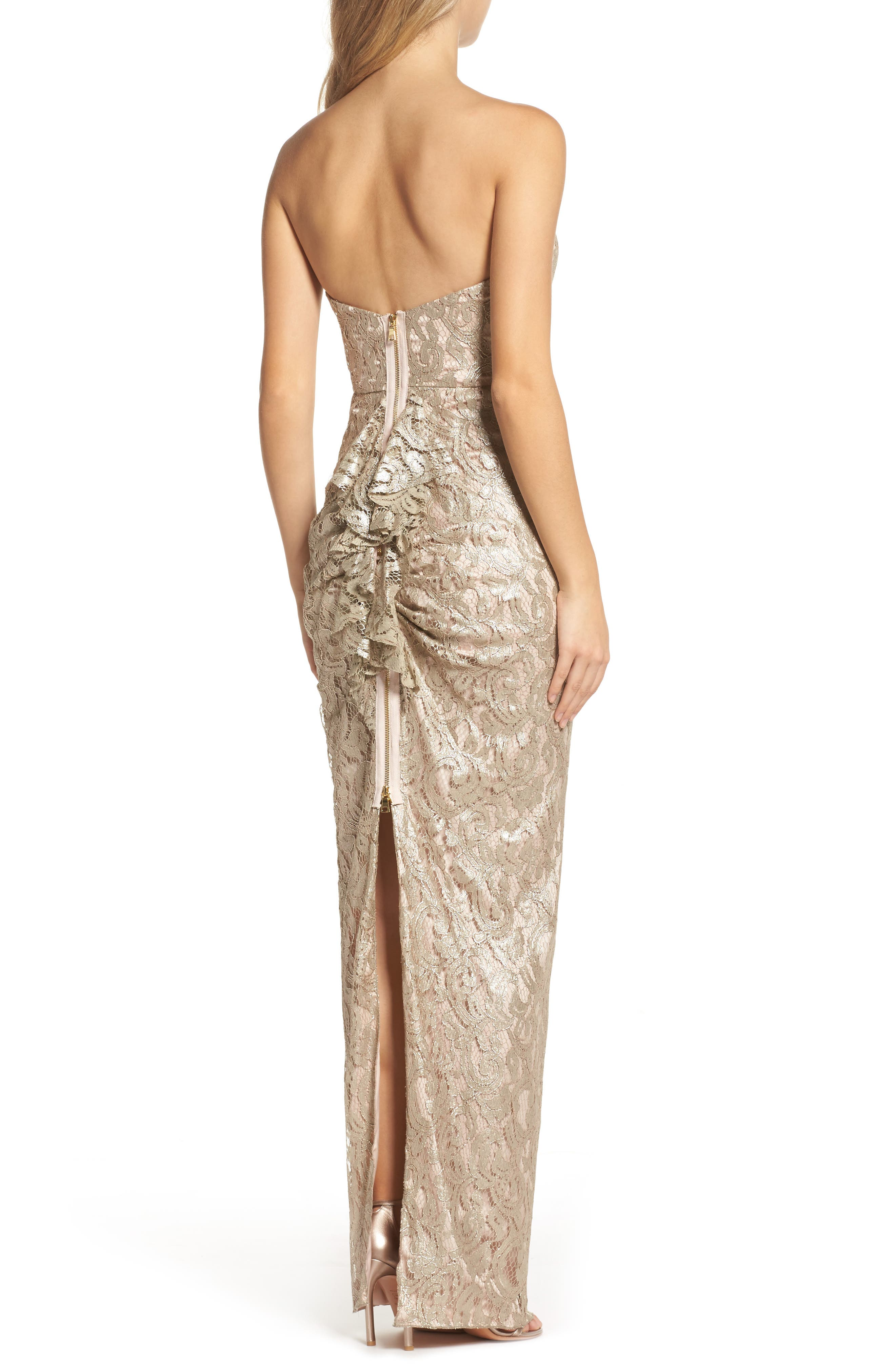 Starla Ruffle Back Strapless Lace Gown,                             Alternate thumbnail 2, color,                             Gold