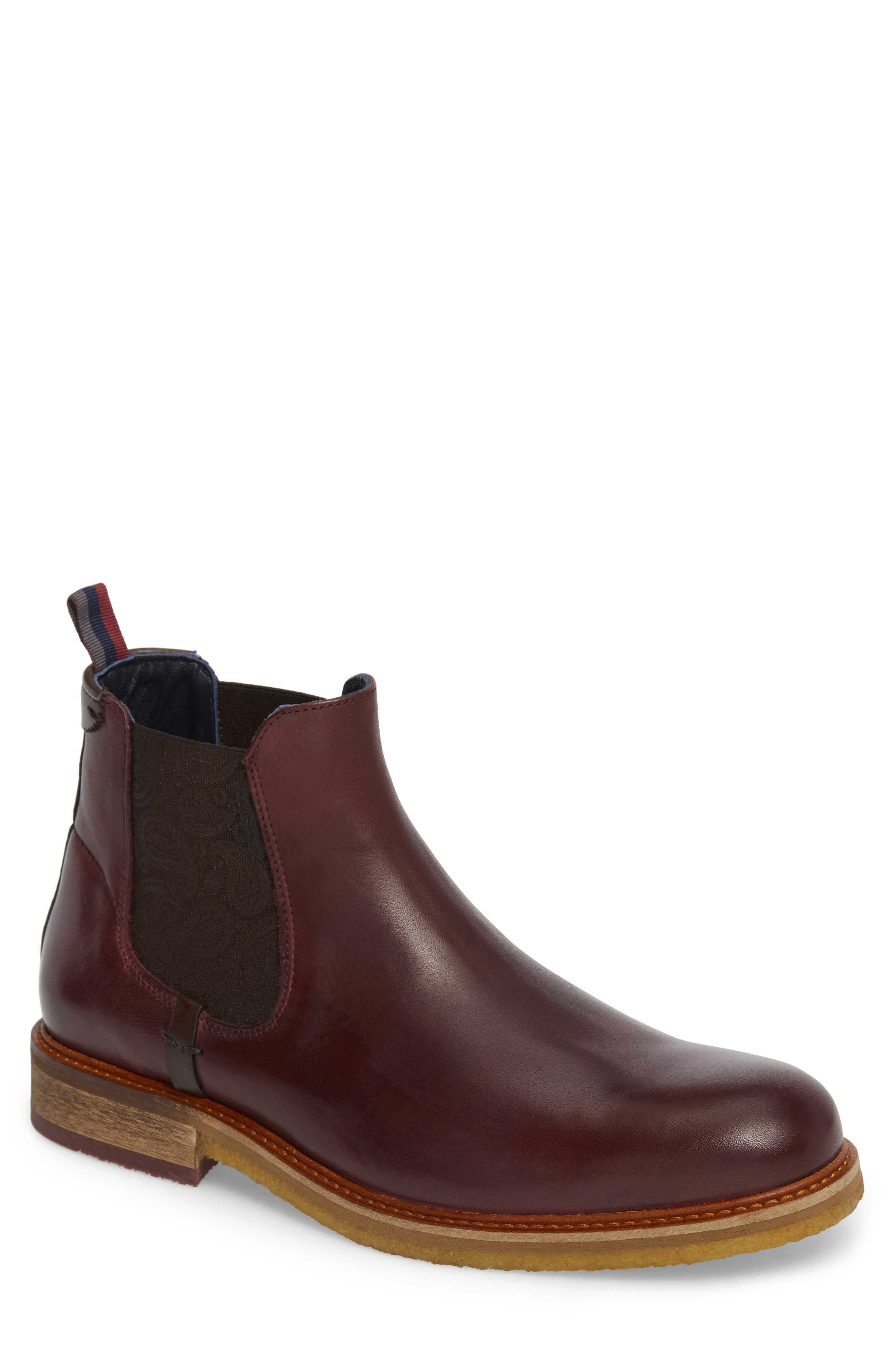 Bronzo Chelsea Boot,                         Main,                         color, Dark Red Leather