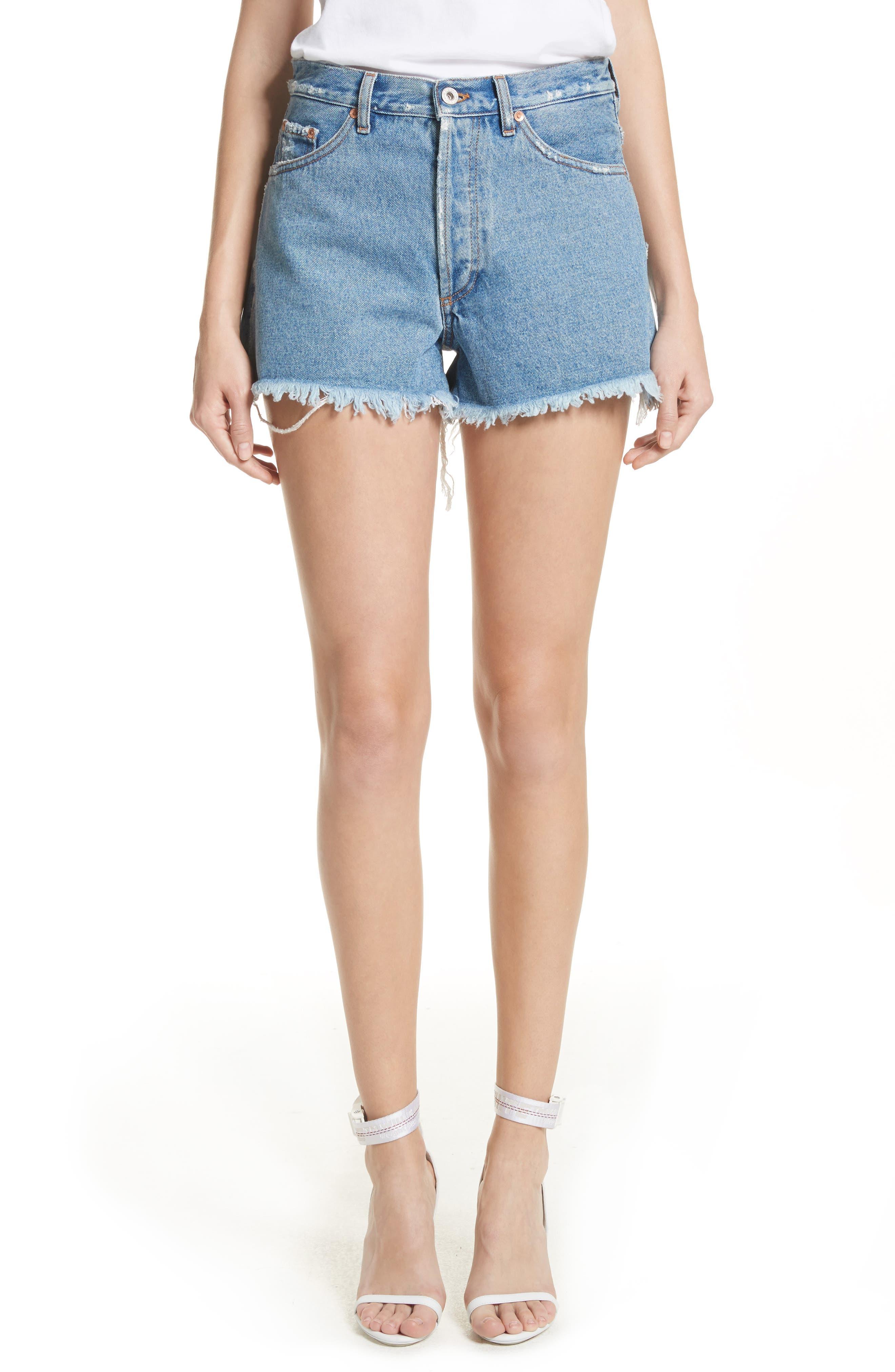 Off-White Diagonal Flower Shop Cutoff Denim Shorts