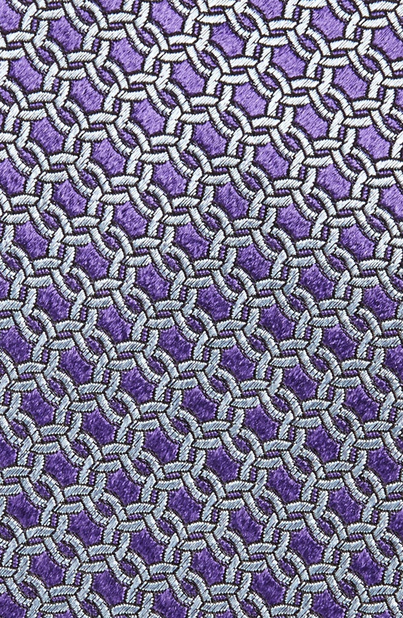 Geometric Silk Tie,                             Alternate thumbnail 2, color,                             Purple