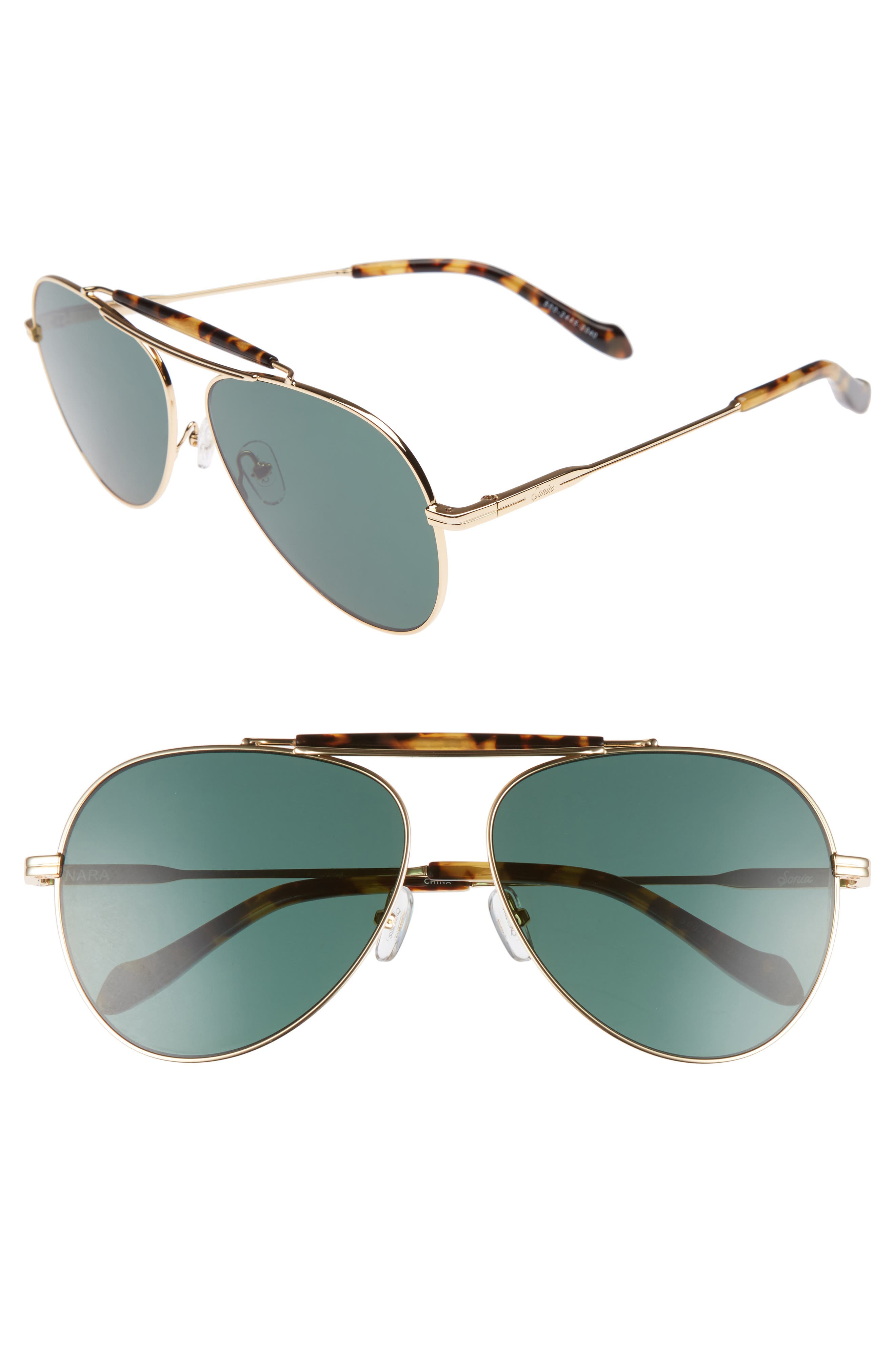 Nara 60mm Aviator Sunglasses,                             Main thumbnail 1, color,                             Brown Tortoise/ Olive Lens