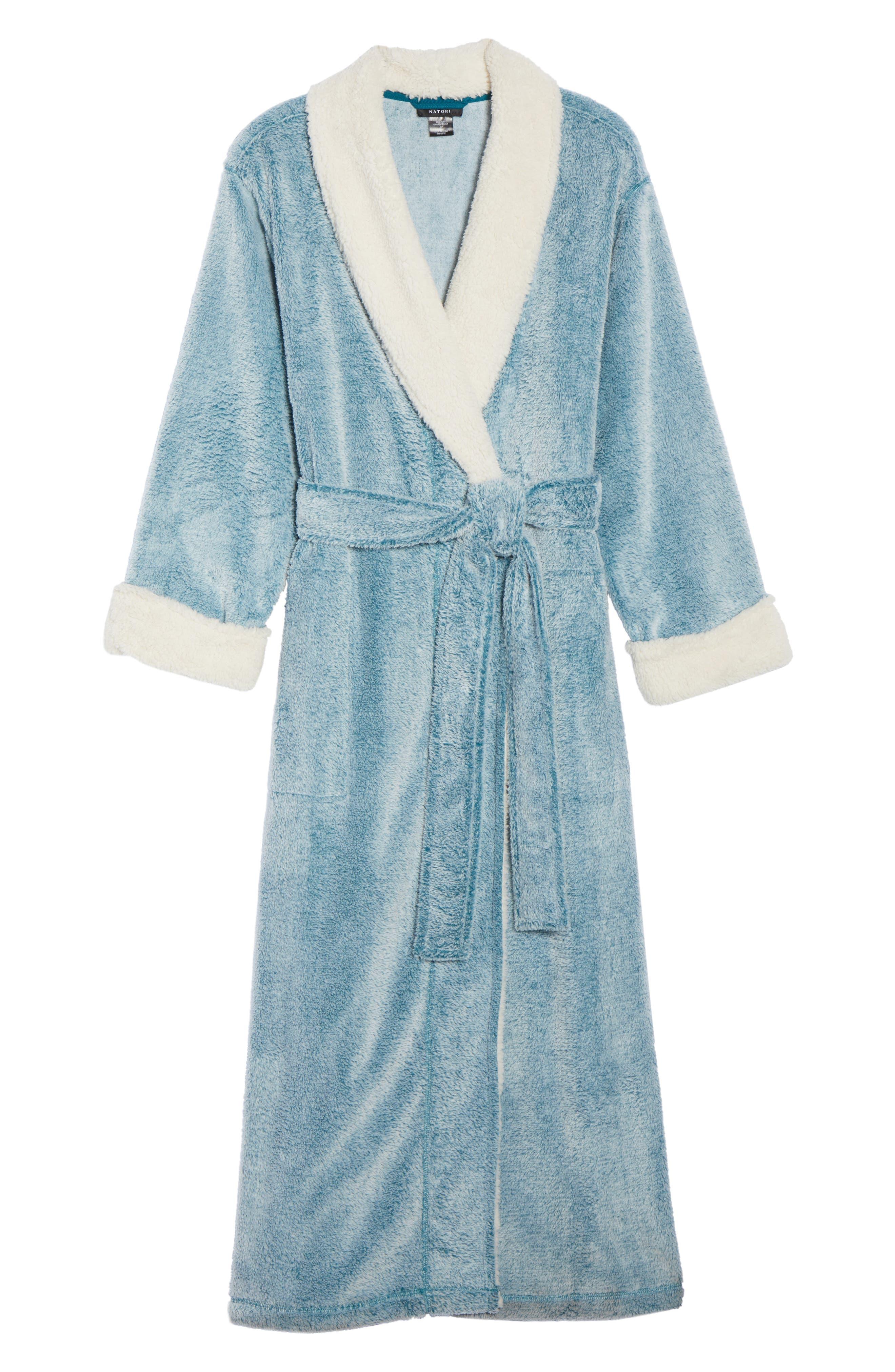 Plush Velour Robe,                             Alternate thumbnail 7, color,                             Light Blue
