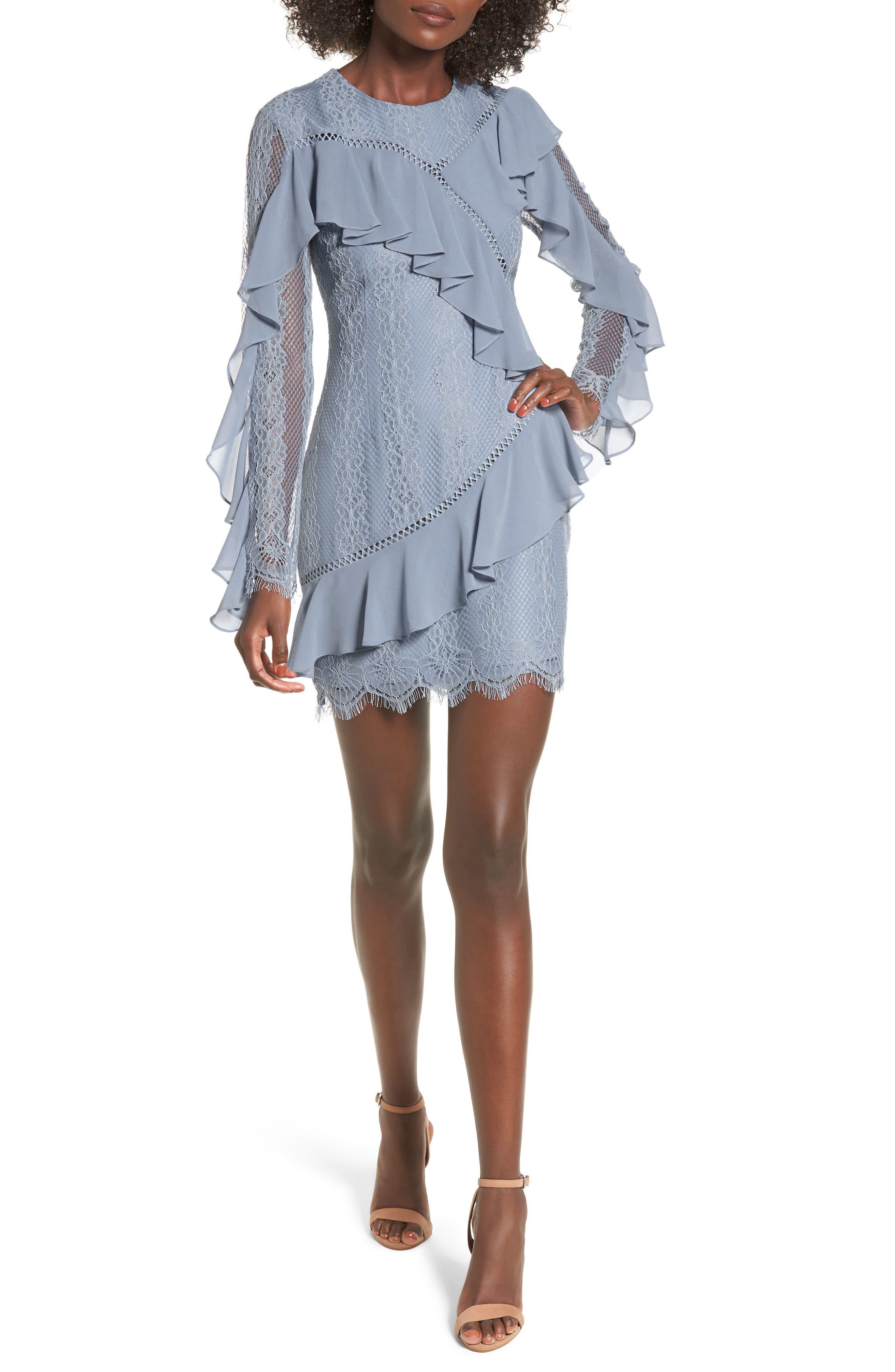 Better Days Lace Minidress,                         Main,                         color, Dusty Blue
