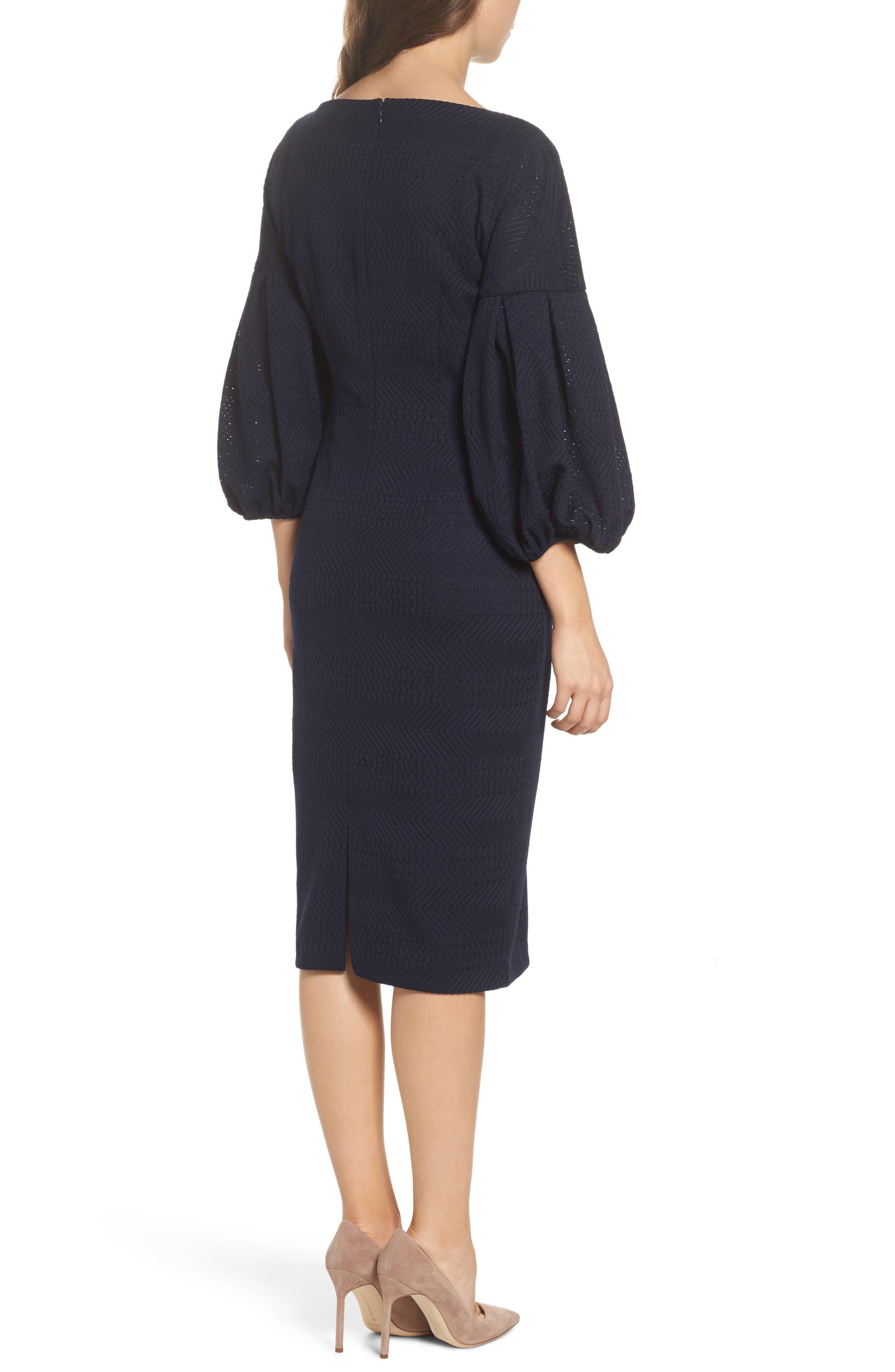 Solid Herringbone Knit Dress,                             Alternate thumbnail 2, color,                             Navy