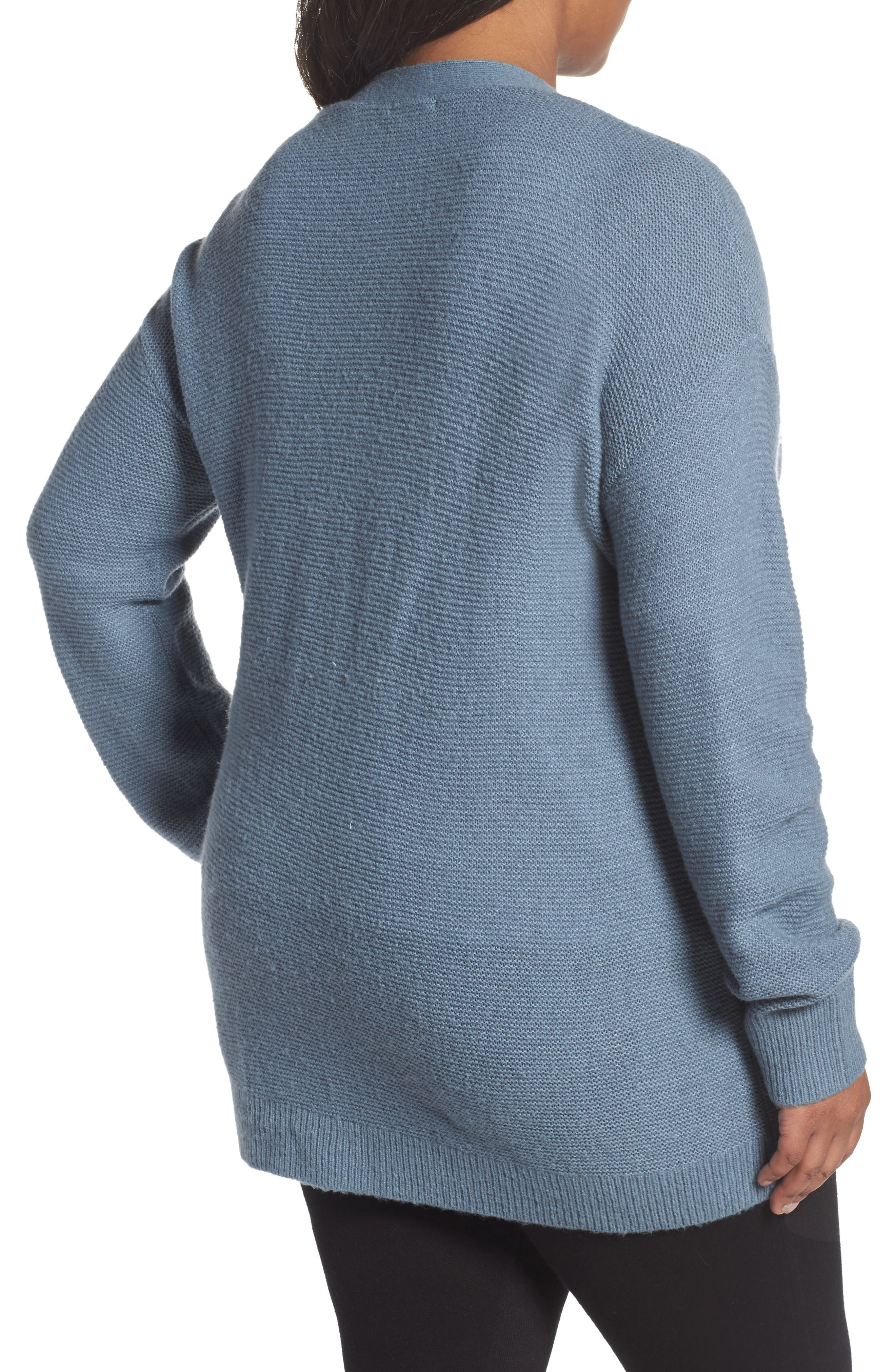 Alternate Image 2  - Caslon® Long V-Neck Wool Blend Cardigan (Plus Size)