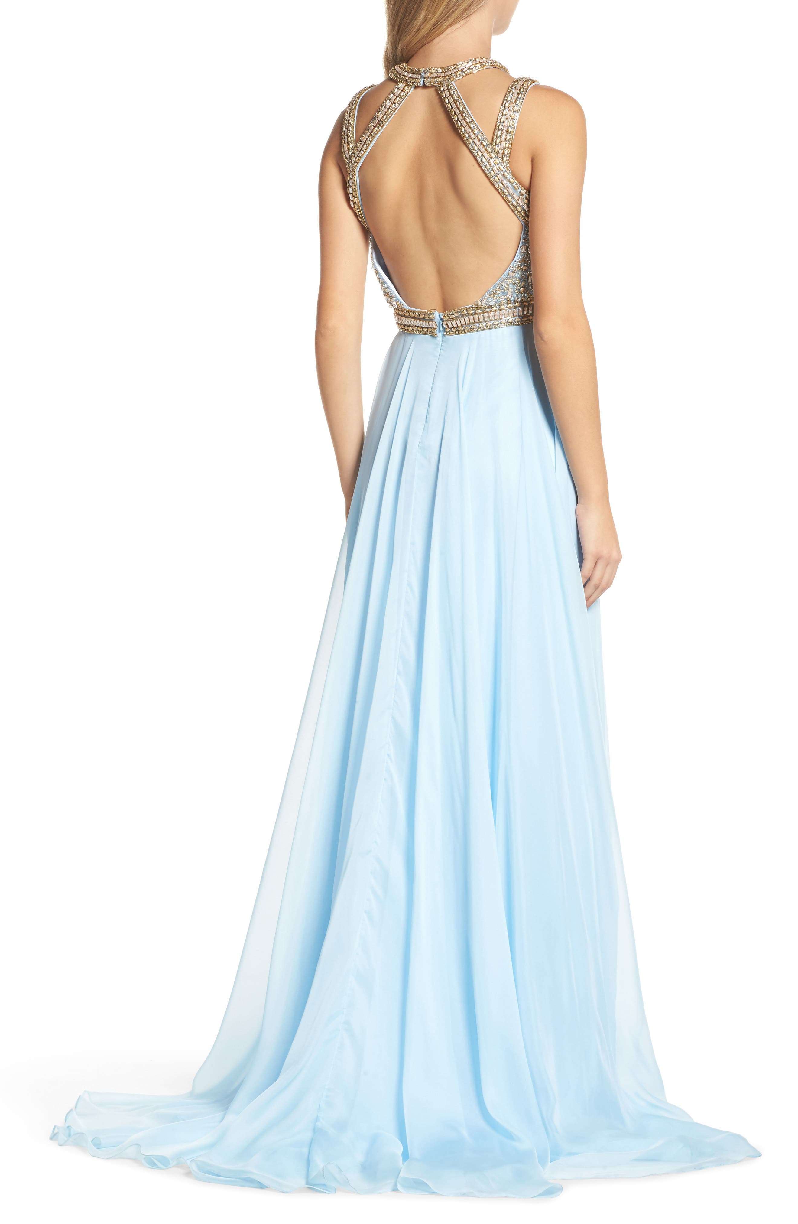 Beaded Cutout Bodice Gown,                             Alternate thumbnail 2, color,                             Ice Blue