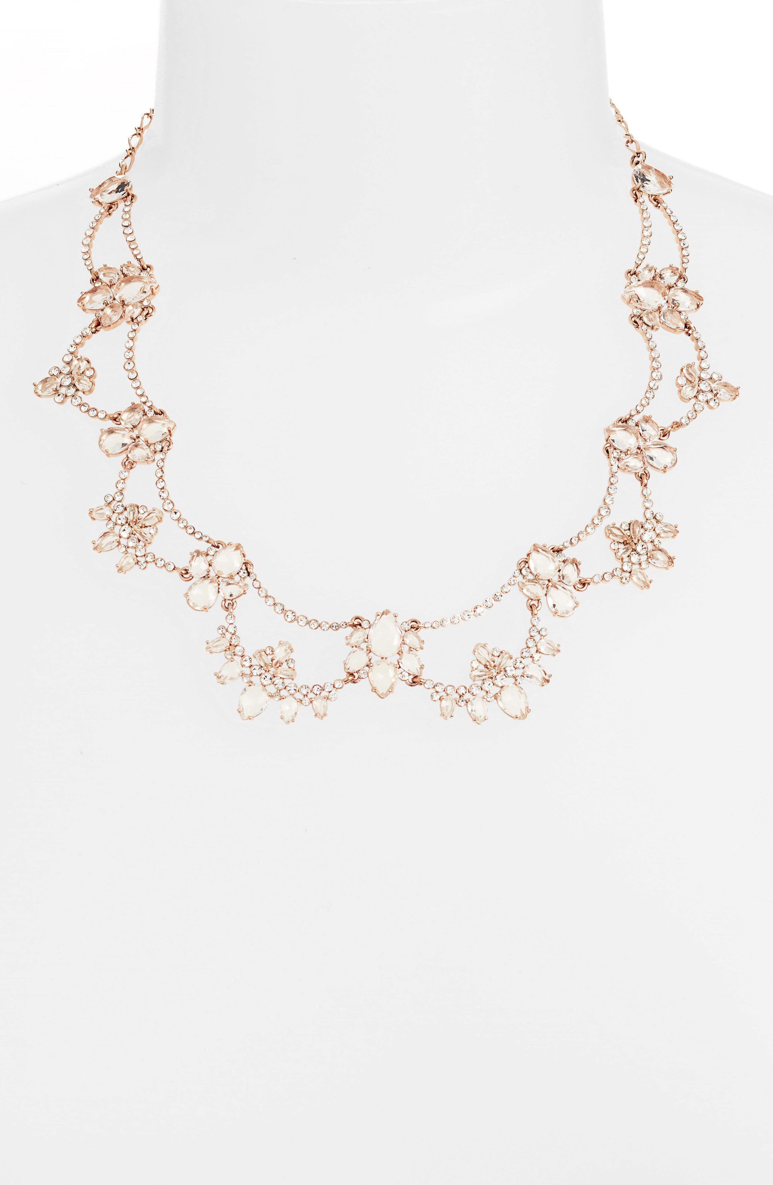cascade crystal collar necklace,                             Alternate thumbnail 2, color,                             Rose Gold
