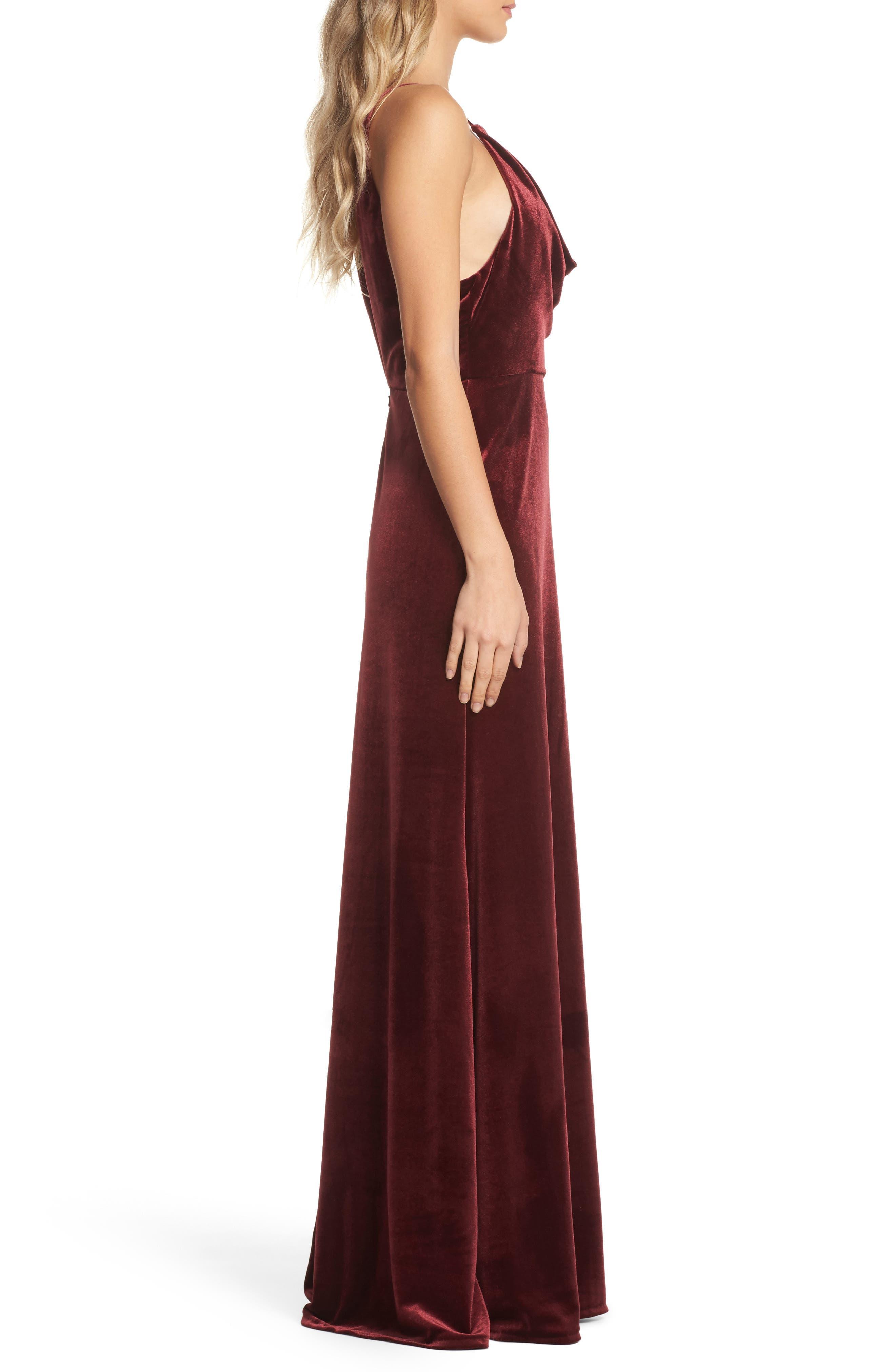 Sullivan Velvet Cowl Neck Gown,                             Alternate thumbnail 3, color,                             Dark Berry