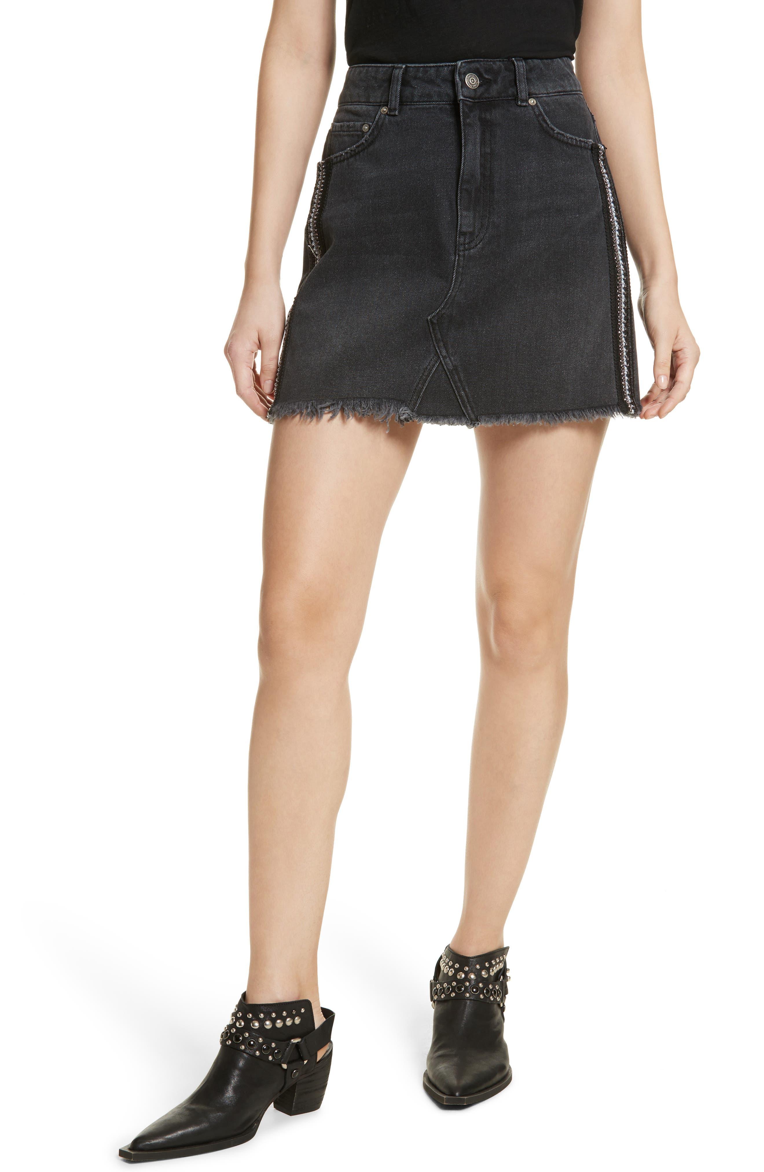 Stripe Cutoff Denim Miniskirt,                         Main,                         color, Black