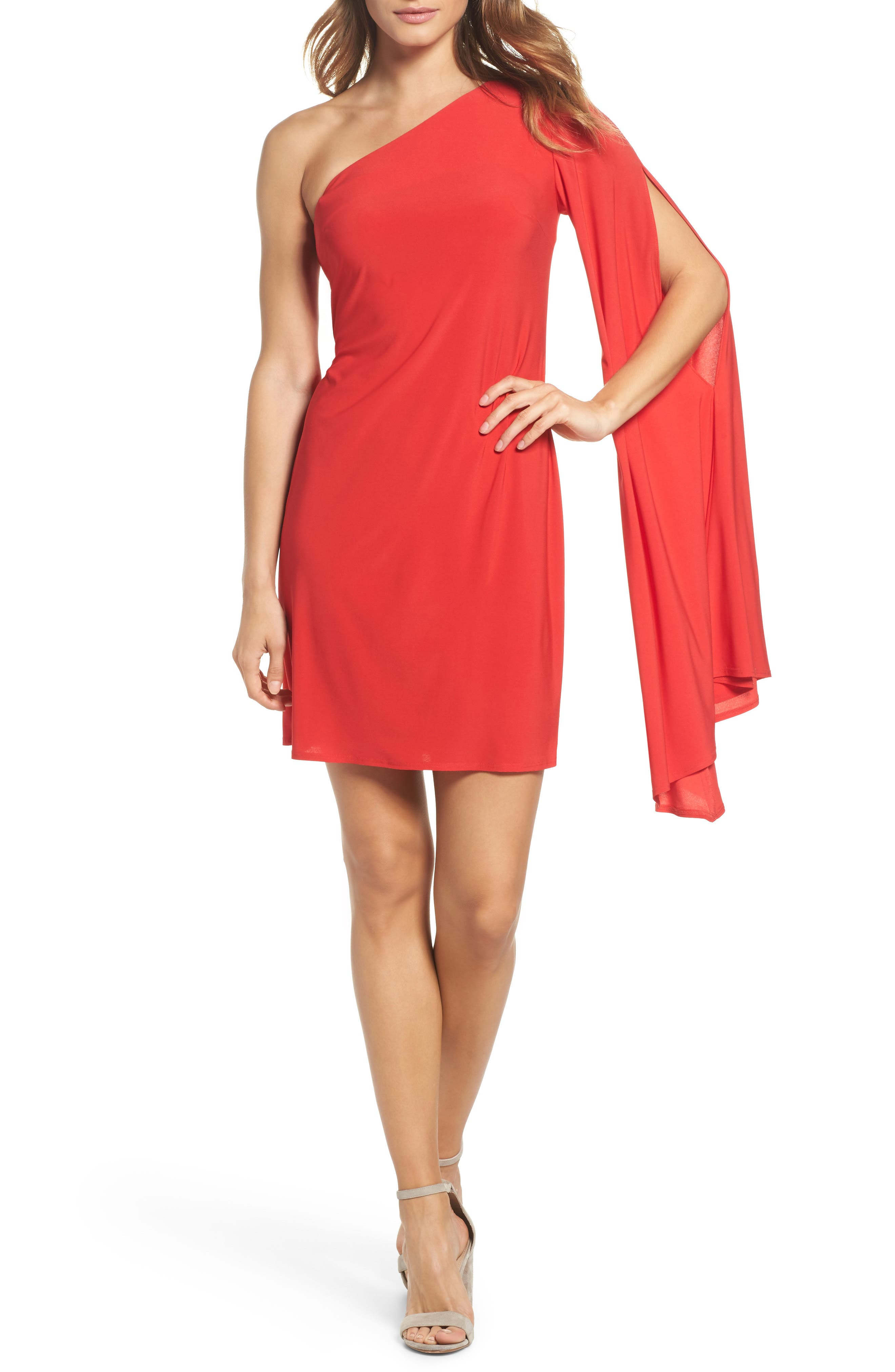 Musa One-Shoulder Dress,                         Main,                         color, Pagoda Red