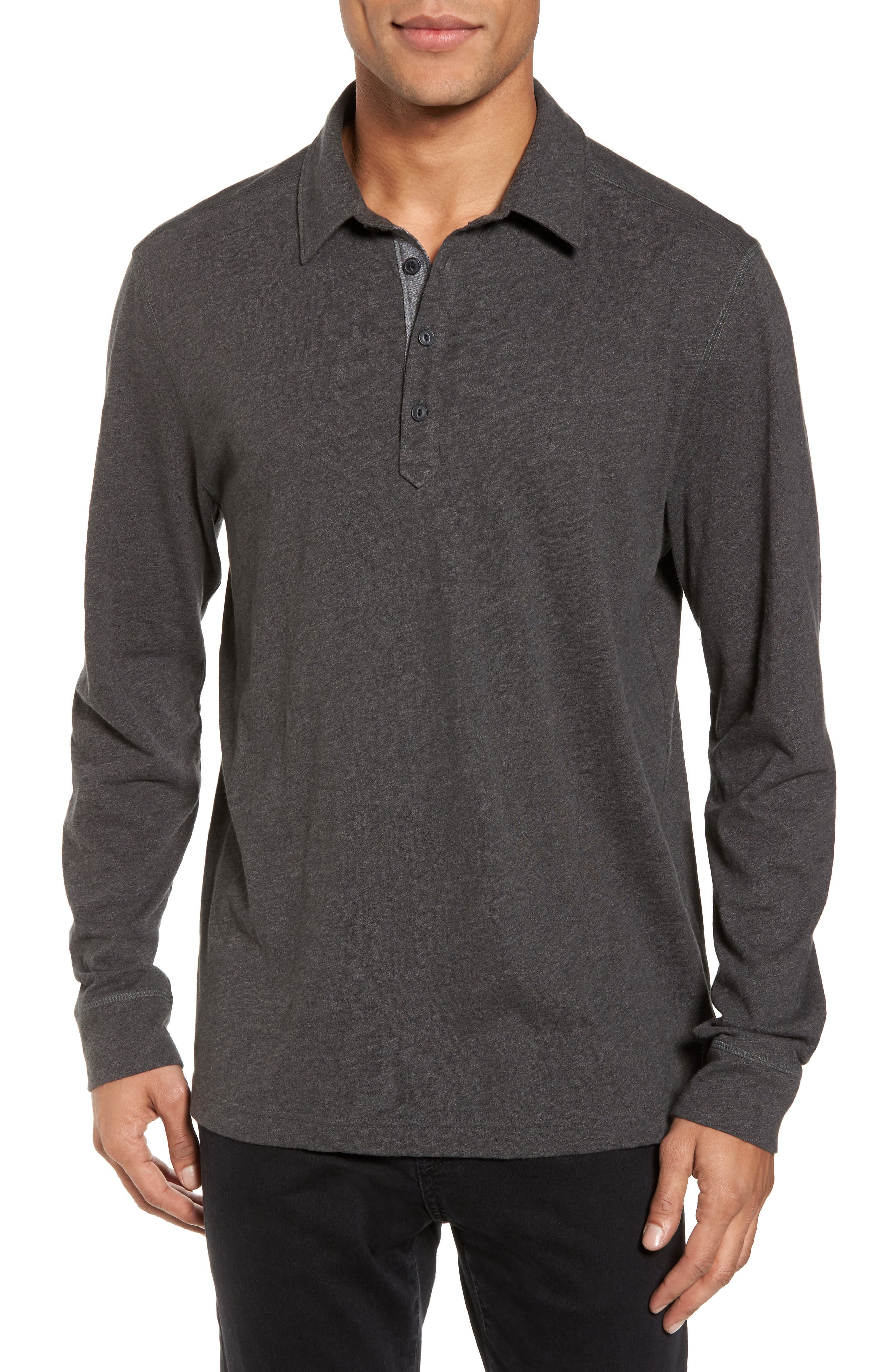 Long Sleeve Polo,                         Main,                         color, Grey Phantom