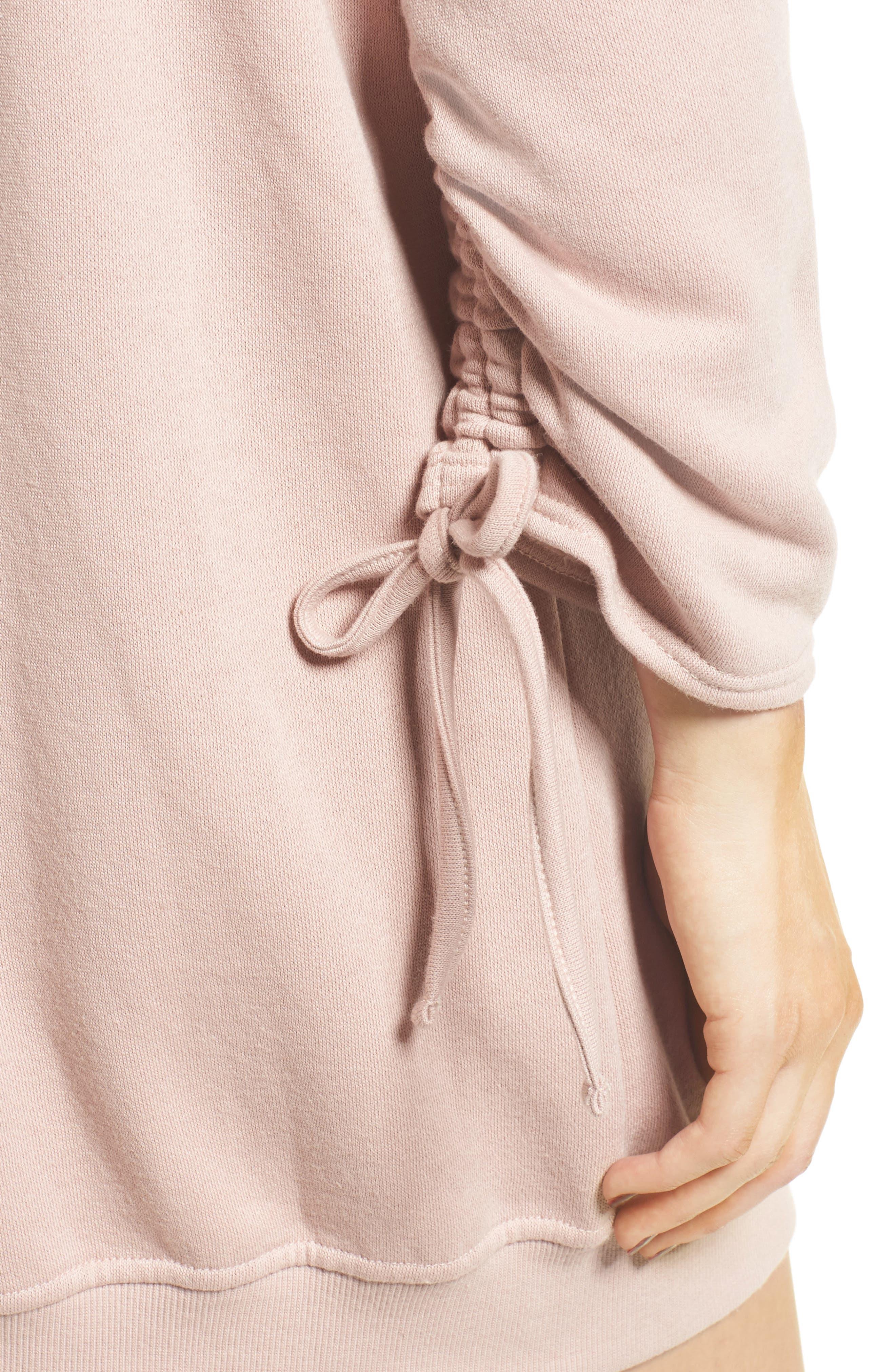 Alternate Image 4  - Cotton Emporium Ruched Sleeve Sweatshirt Dress