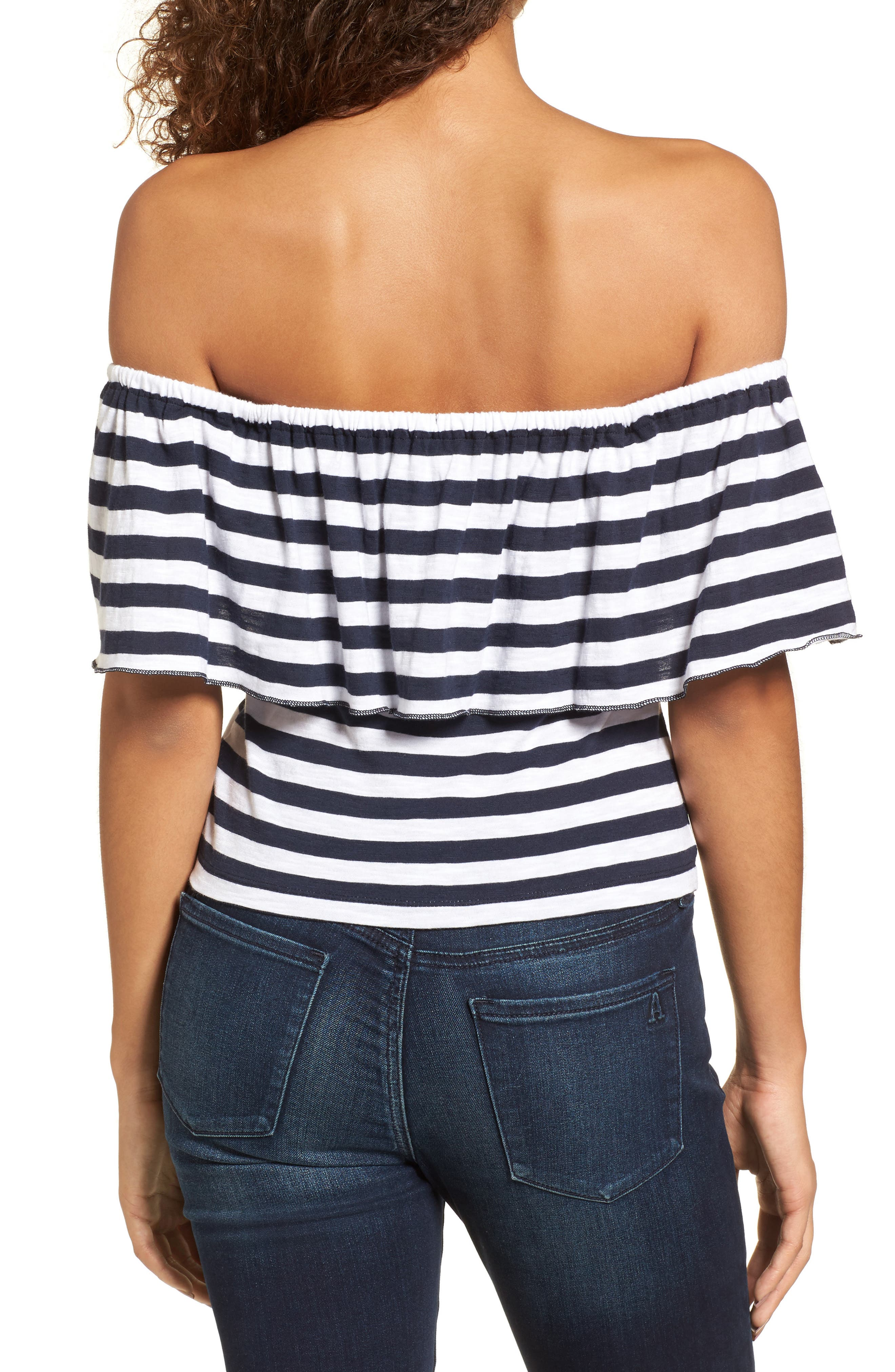 Stripe Ruffle Off the Shoulder Tee,                             Alternate thumbnail 2, color,                             Navy Peacoat Marie Stripe