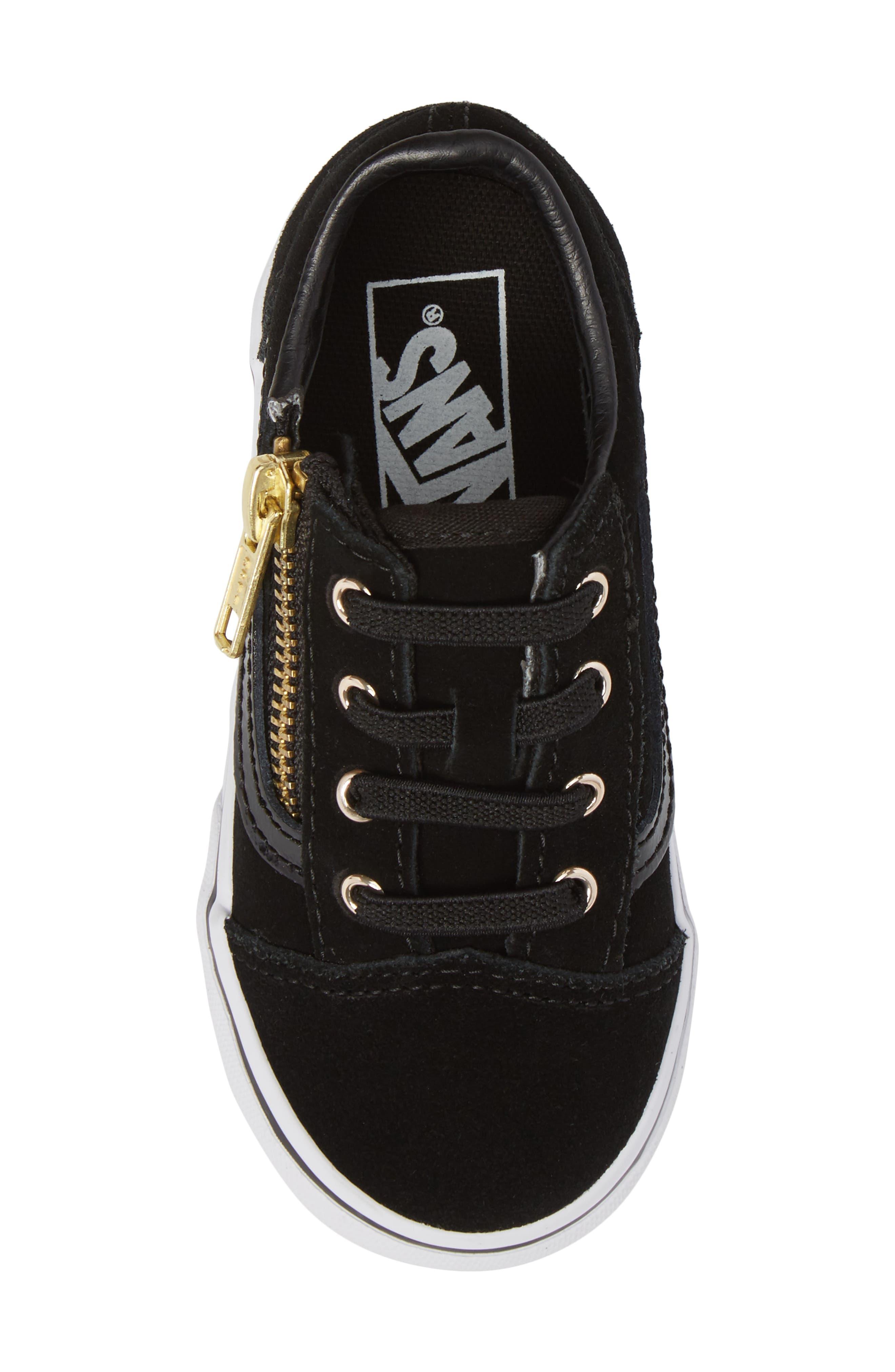 Old Skool Zip Sneaker,                             Alternate thumbnail 5, color,                             Black/ Gold
