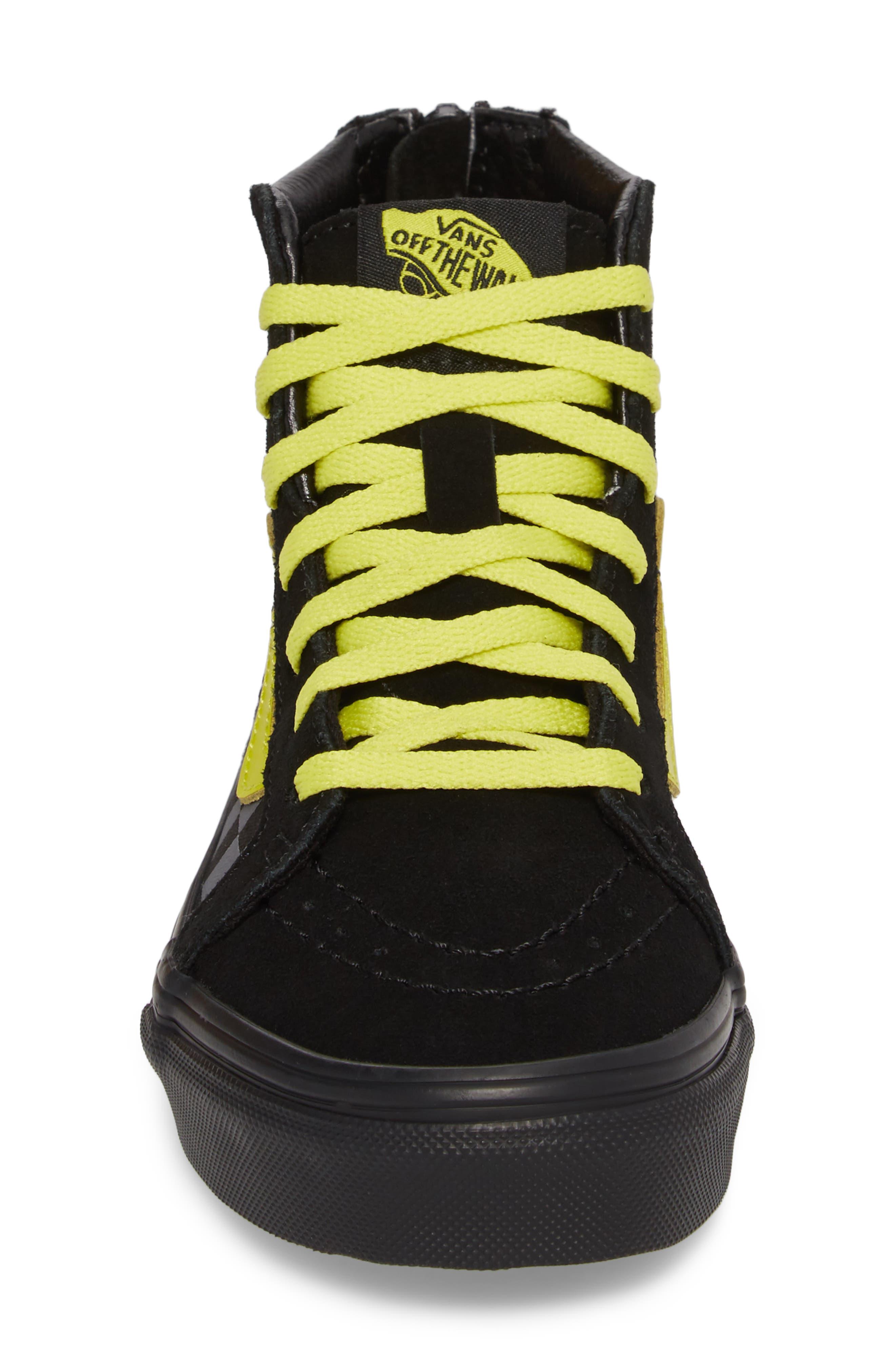 Reflective Checkerboard SK8-Hi Zip Sneaker,                             Alternate thumbnail 4, color,                             Asphalt/ Reflective