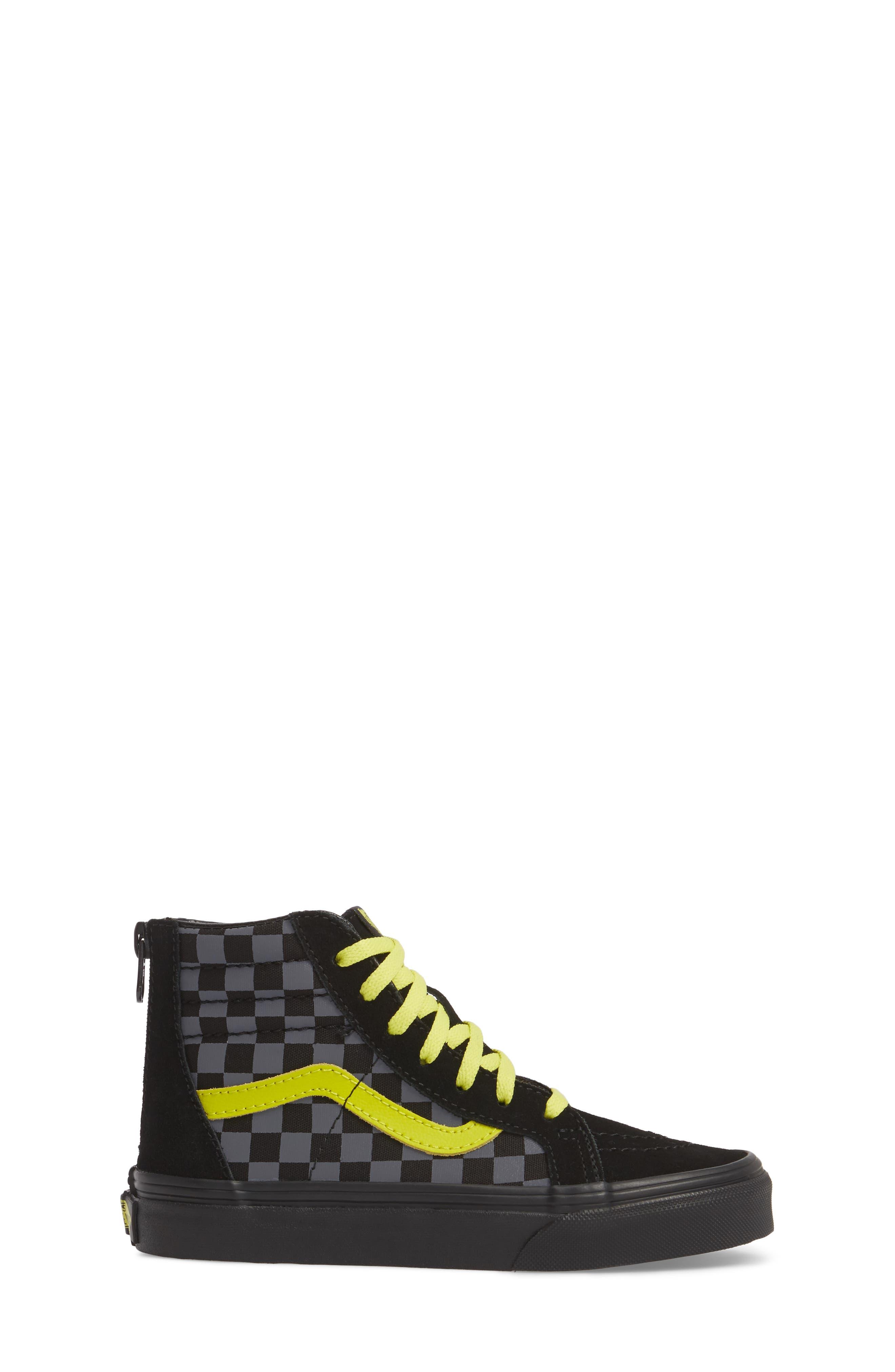 Reflective Checkerboard SK8-Hi Zip Sneaker,                             Alternate thumbnail 3, color,                             Asphalt/ Reflective