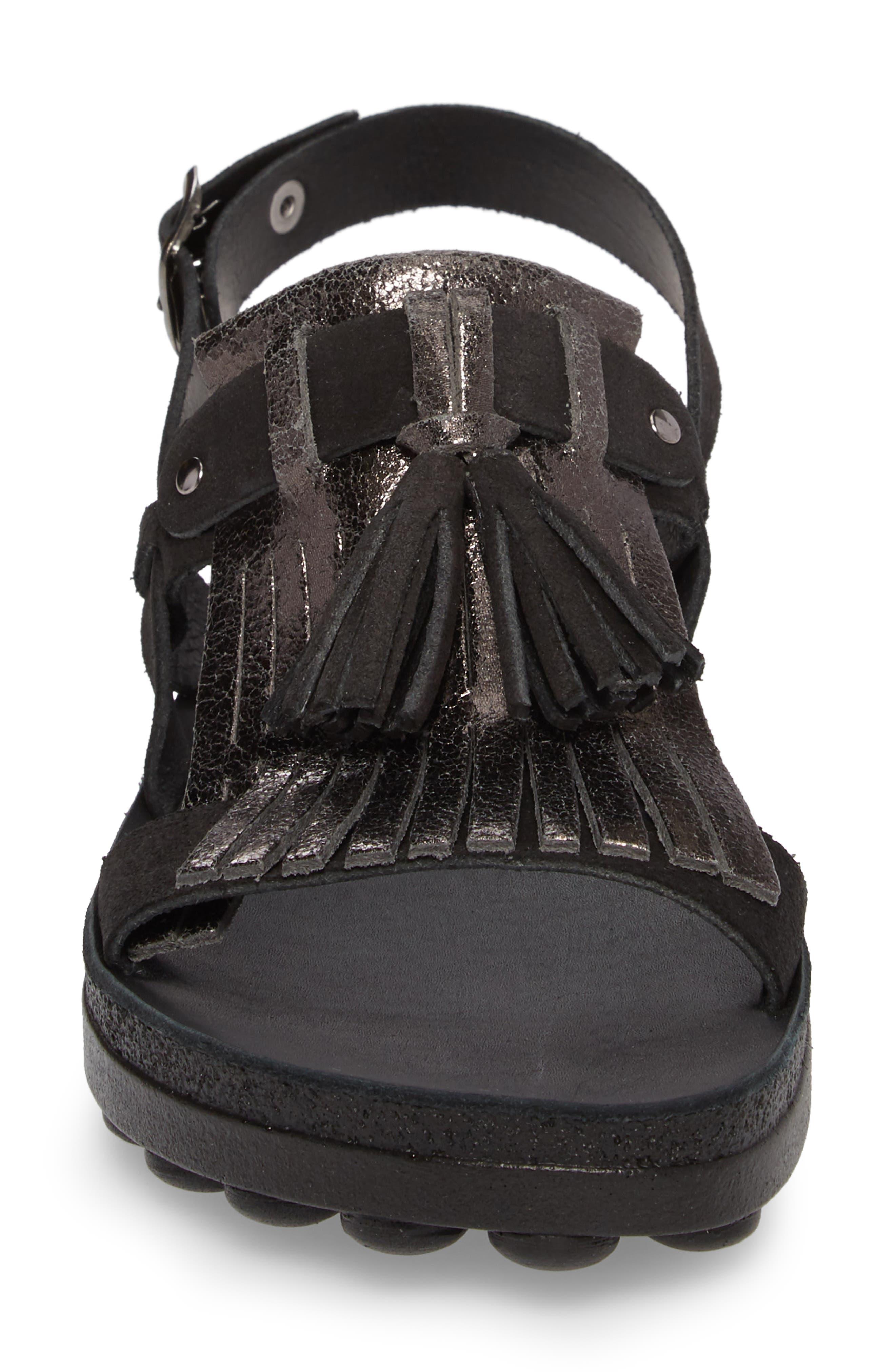 Anna Sandal,                             Alternate thumbnail 4, color,                             Black Glitter Leather