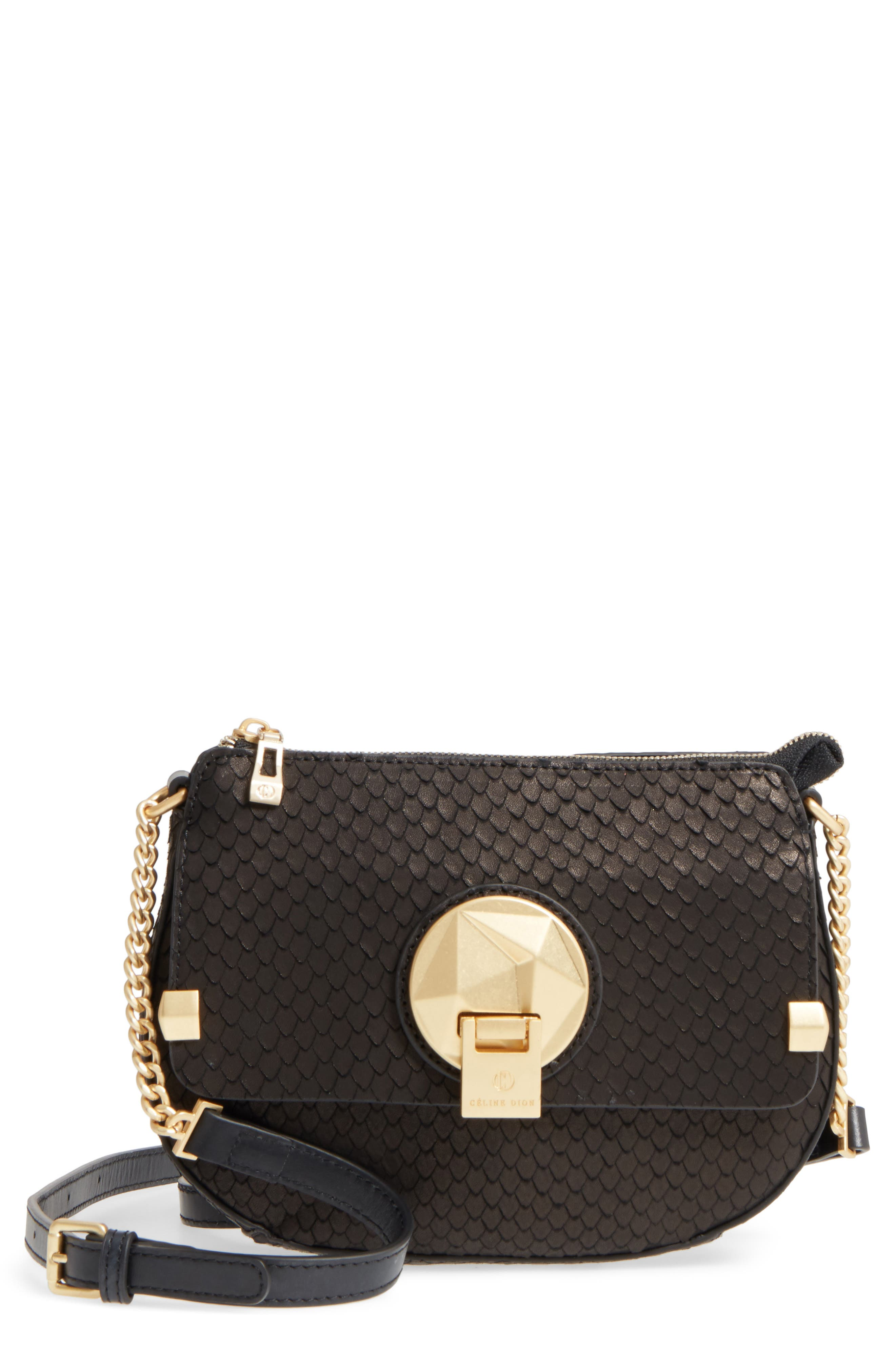 Céline Dion Octave Leather Crossbody Bag,                             Main thumbnail 1, color,                             Black Snake
