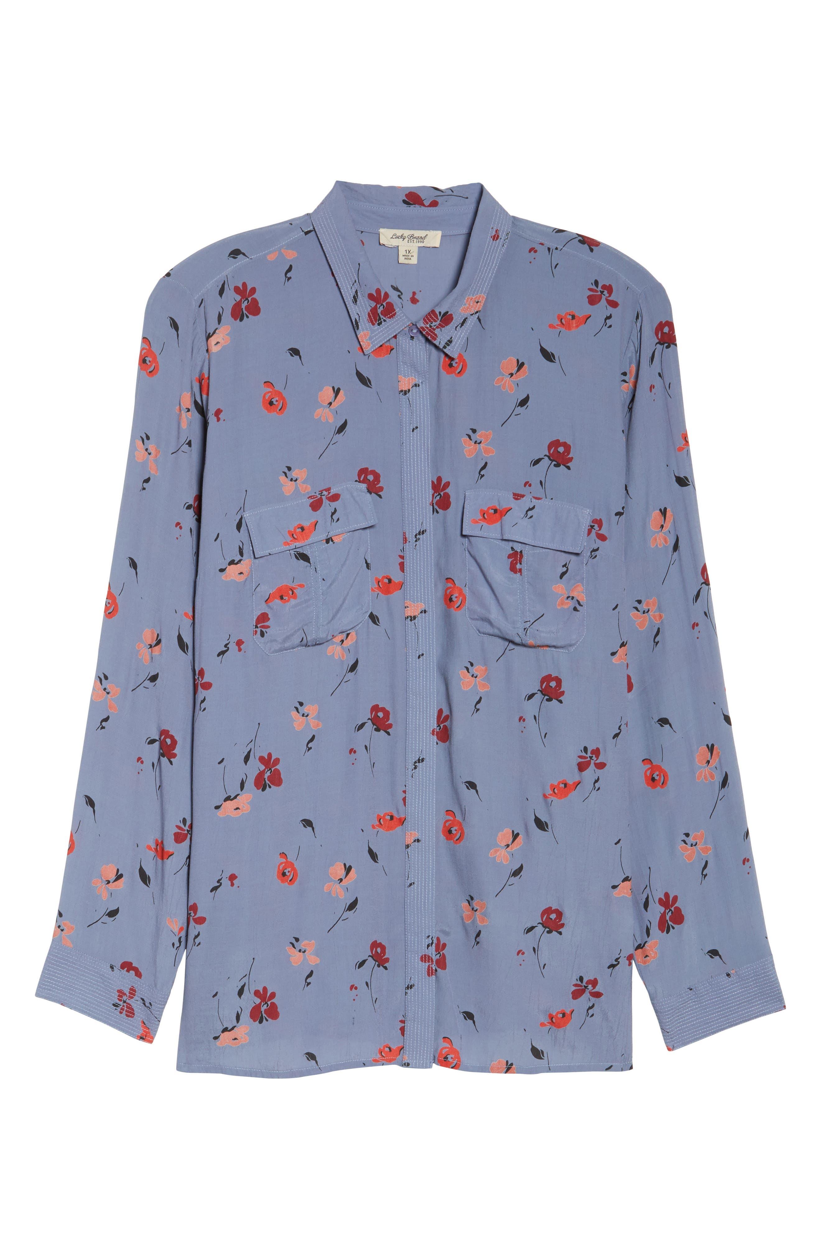 Floral Print Button Down Shirt,                             Alternate thumbnail 6, color,                             Grey Multi