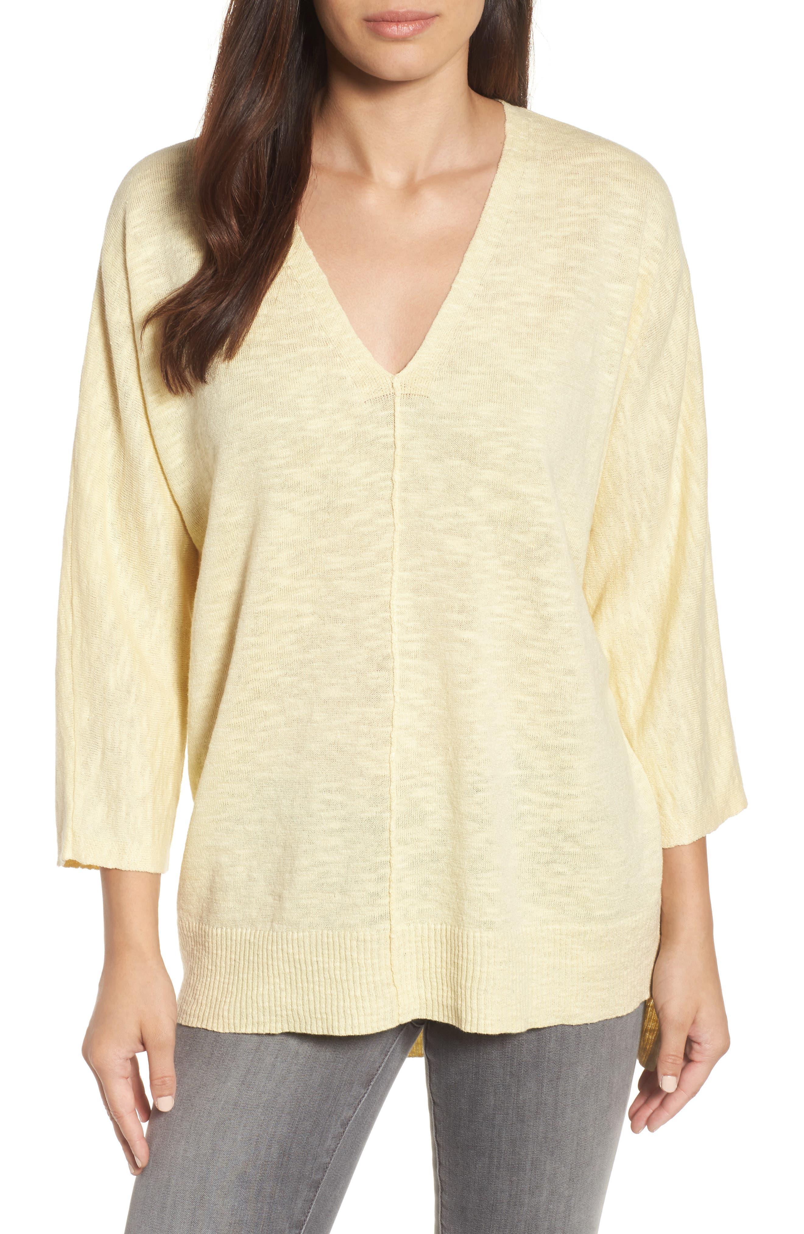 Organic Linen & Cotton Sweater,                             Main thumbnail 1, color,                             Flaxen