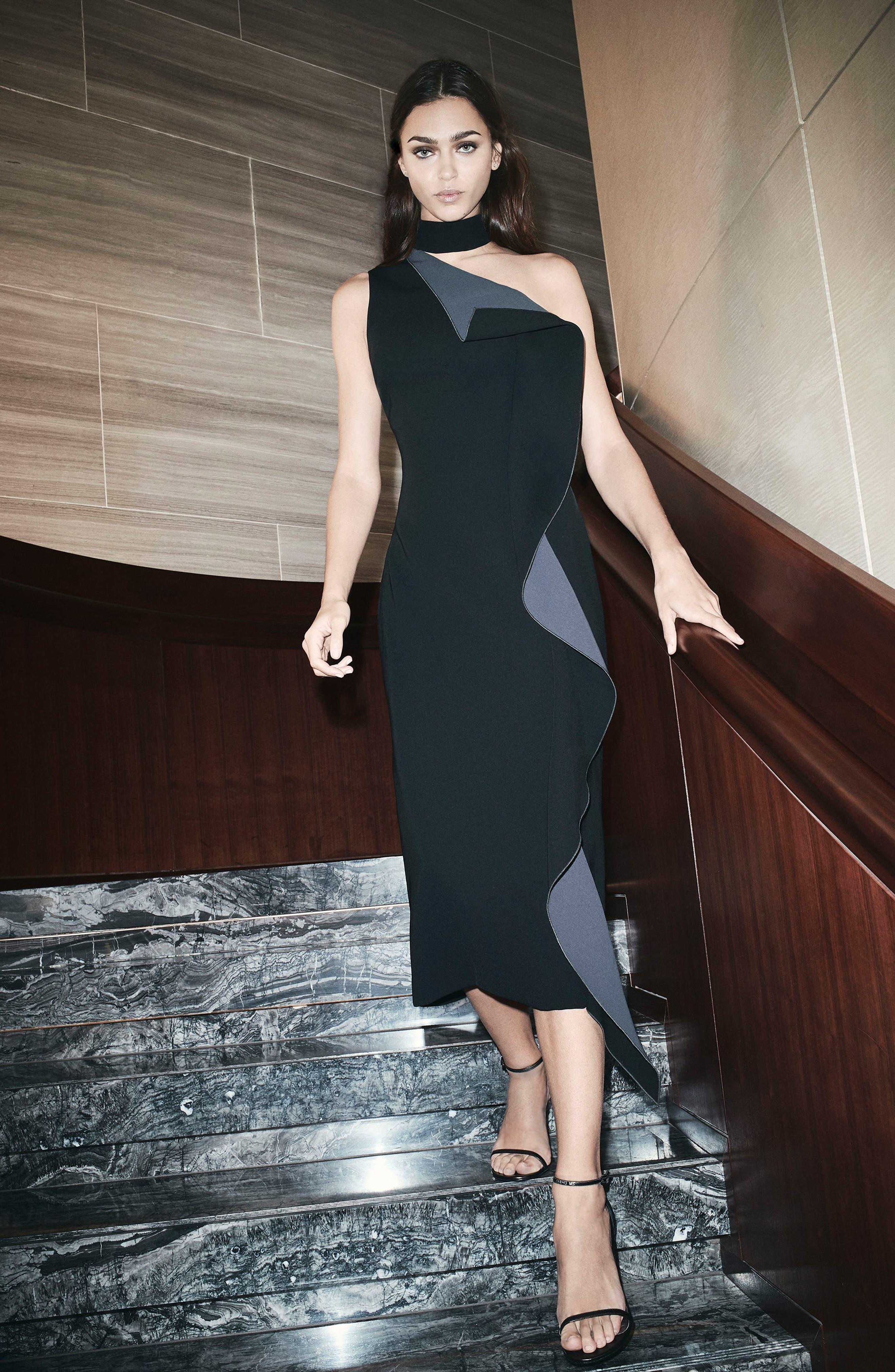 Elettra Ruffle Front Bonded Crepe Halter Dress,                             Alternate thumbnail 2, color,                             Black/ Graphite
