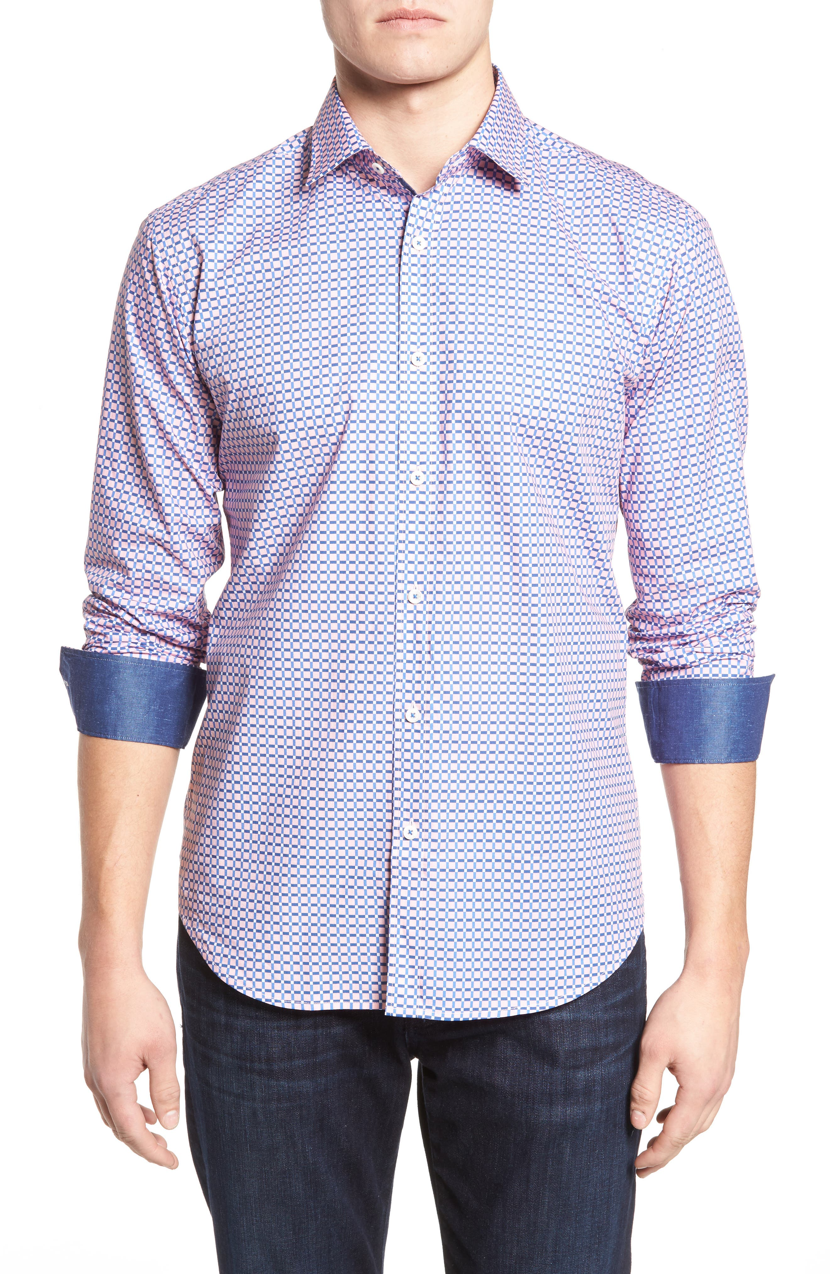 Shaped Fit Grid Print Sport Shirt,                         Main,                         color, Pink