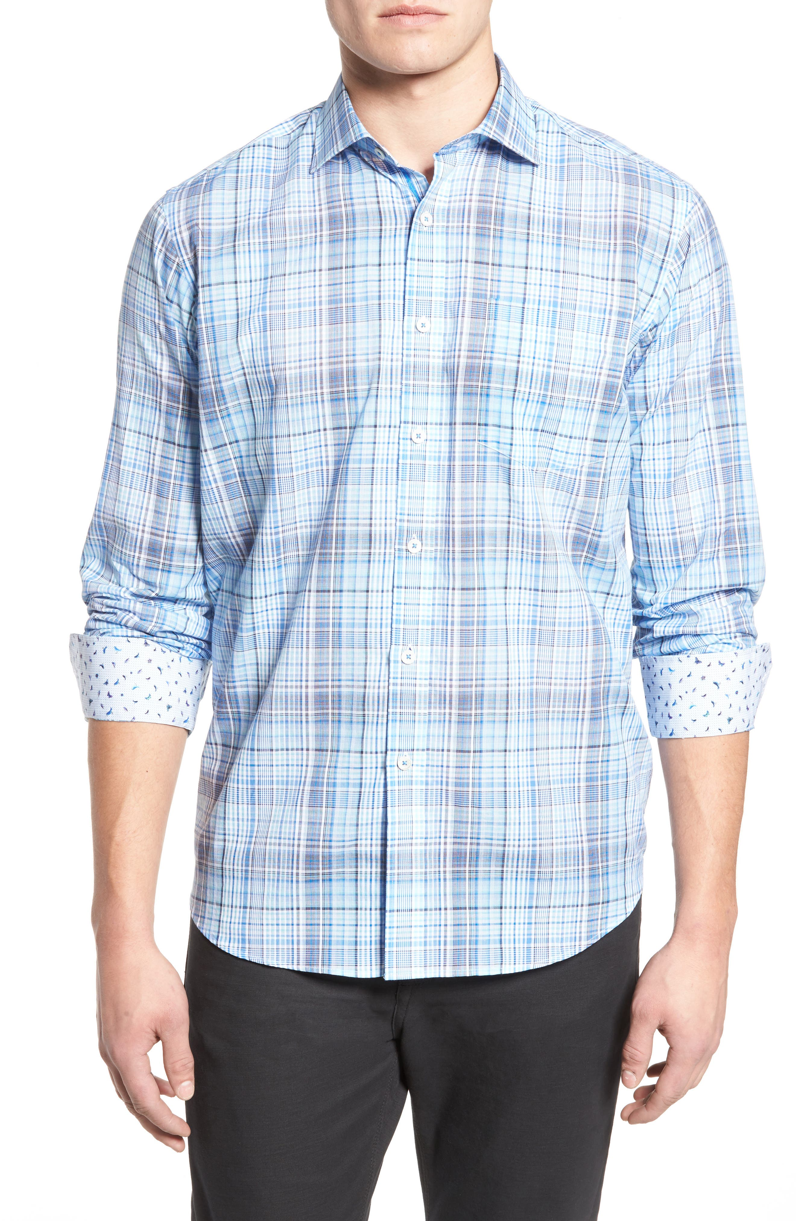 Alternate Image 1 Selected - Bugatchi Classic Fit Plaid Sport Shirt