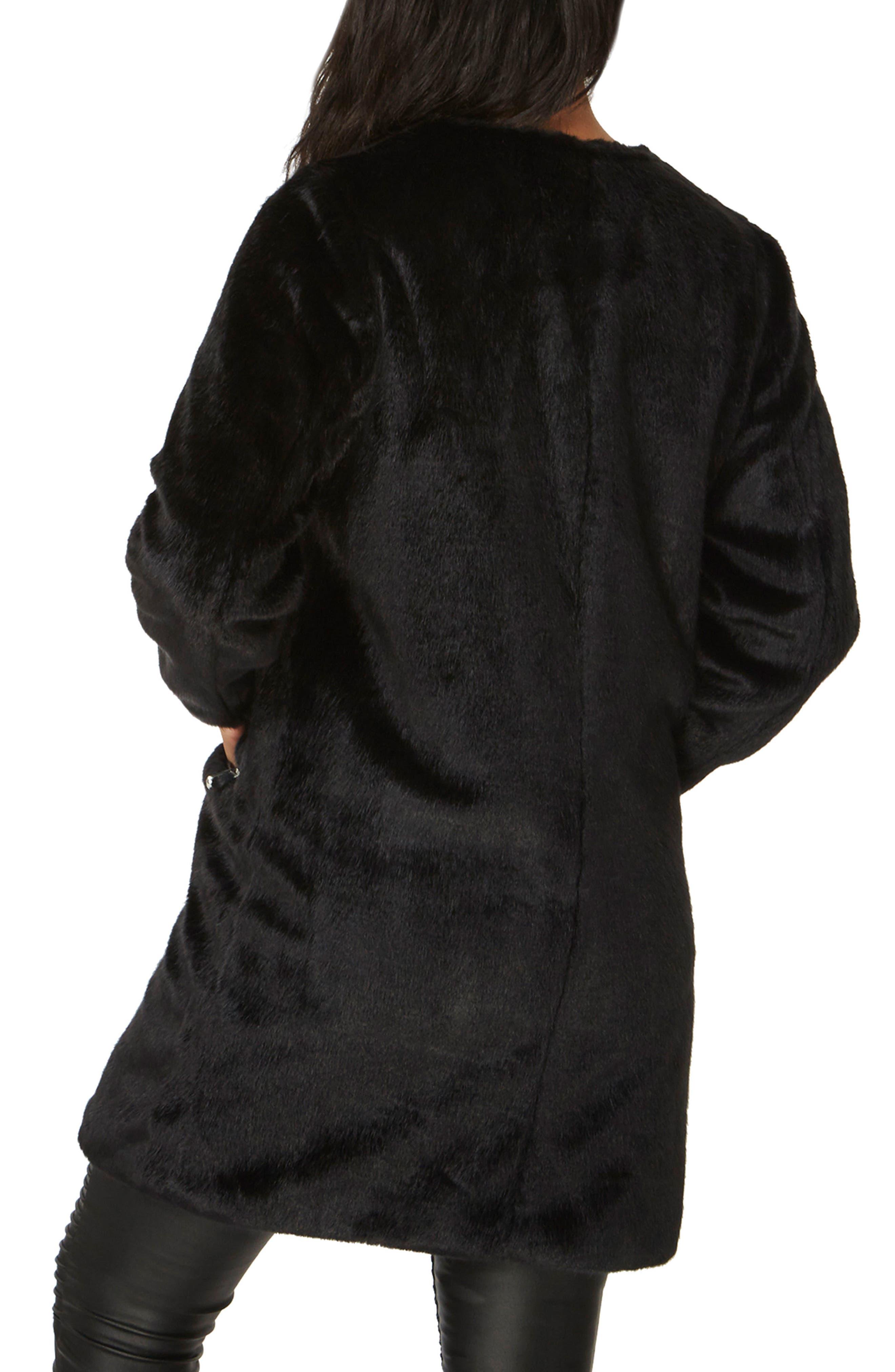 Faux Fur Coat,                             Alternate thumbnail 2, color,                             Black