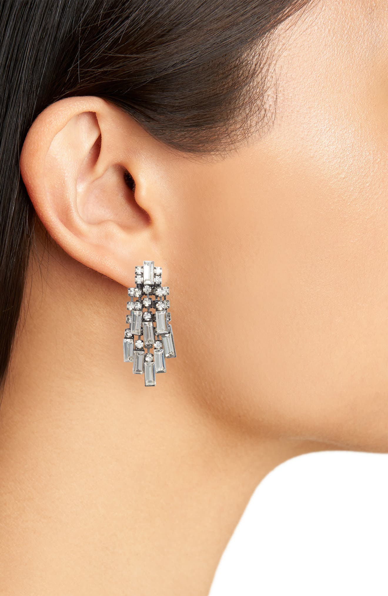 Crystal Baguette Earrings,                             Alternate thumbnail 2, color,                             Gunmetal/ Crystal