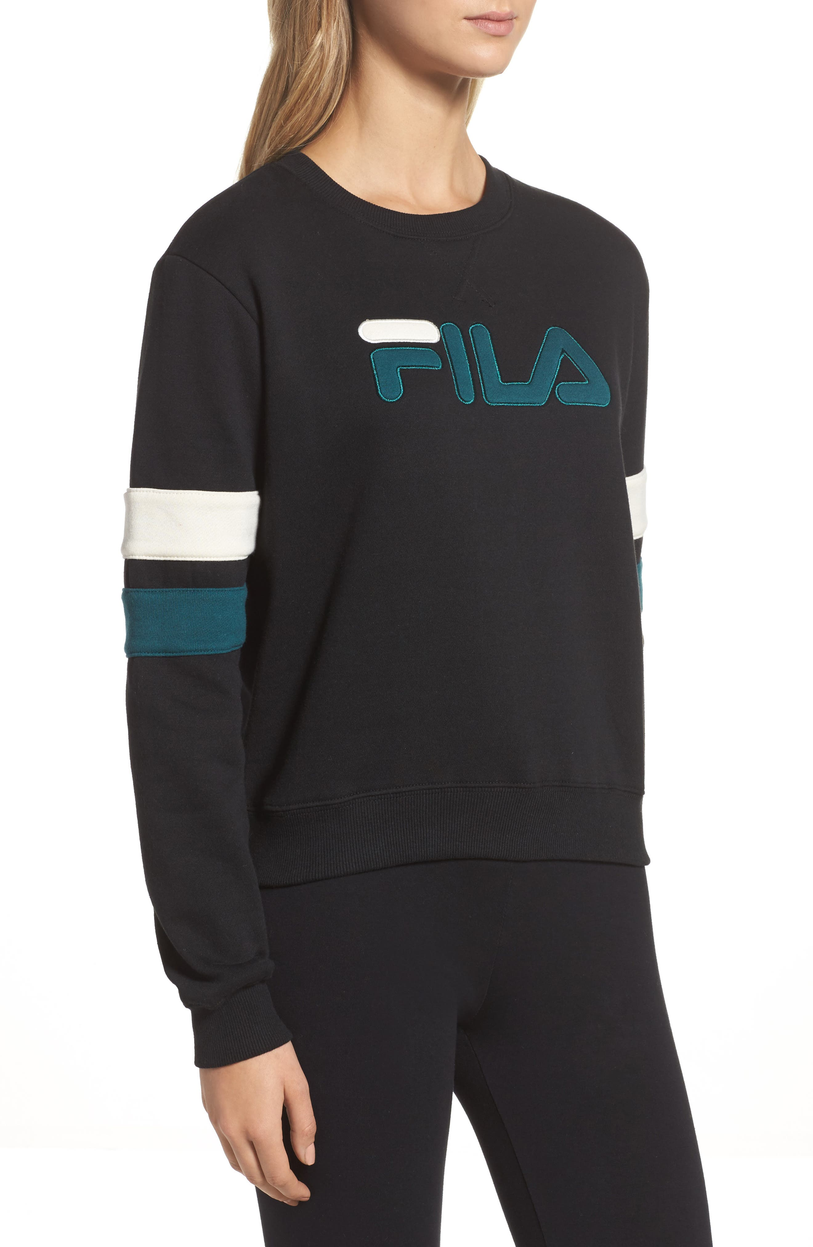 Newton Sweatshirt,                             Alternate thumbnail 3, color,                             Black/ Deep Teal/ Gardenia