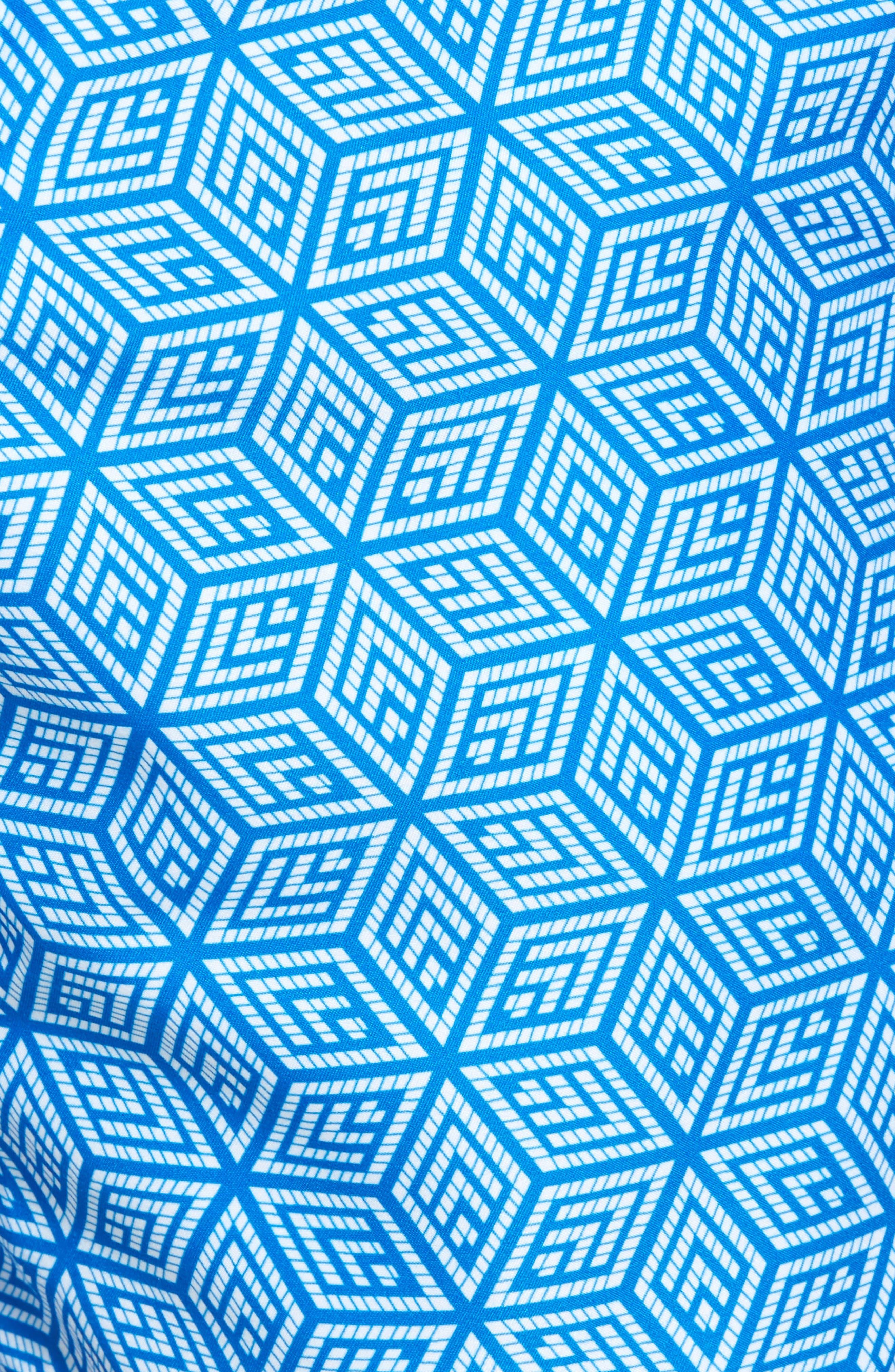 Mr. Swim Geo Print Swim Trunks,                             Alternate thumbnail 5, color,                             Blue