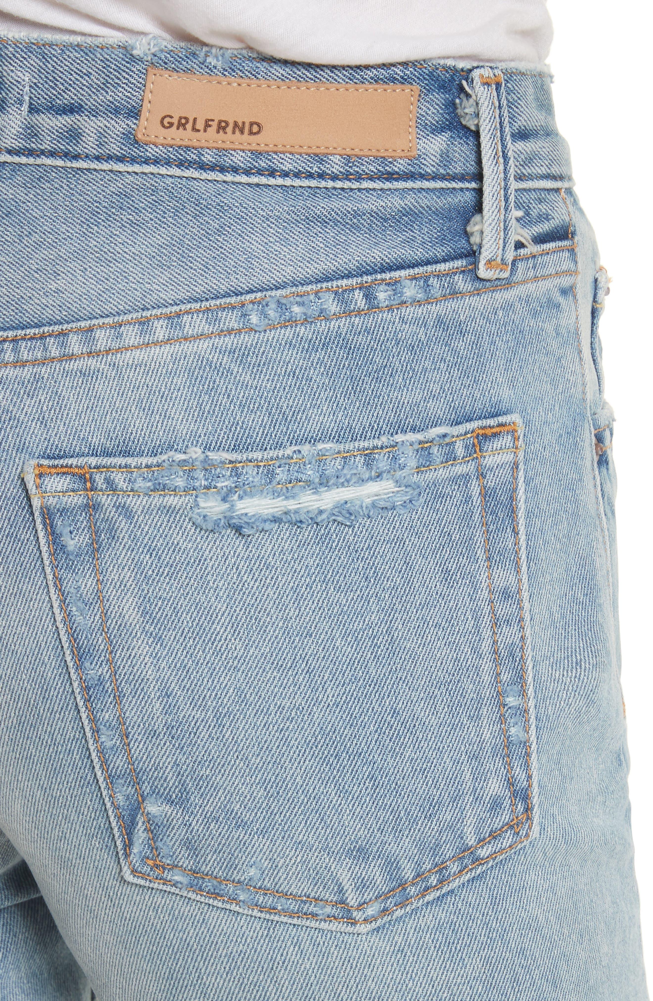 Alternate Image 4  - GRLFRND Helena Ripped Rigid High Waist Straight Jeans (Reese)