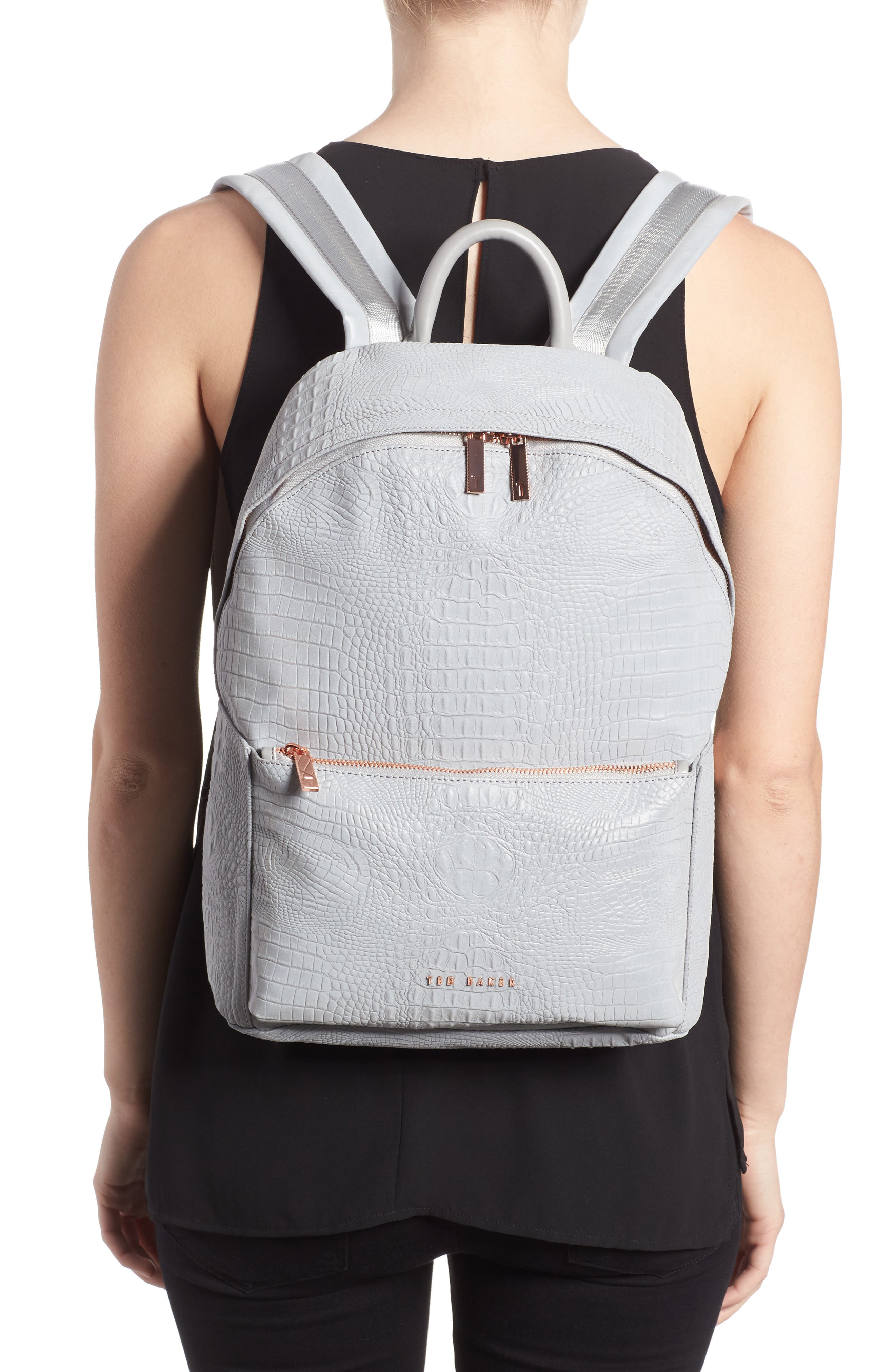Alternate Image 2  - Ted Baker London Rahri Reflective Croc Embossed Faux Leather Backpack