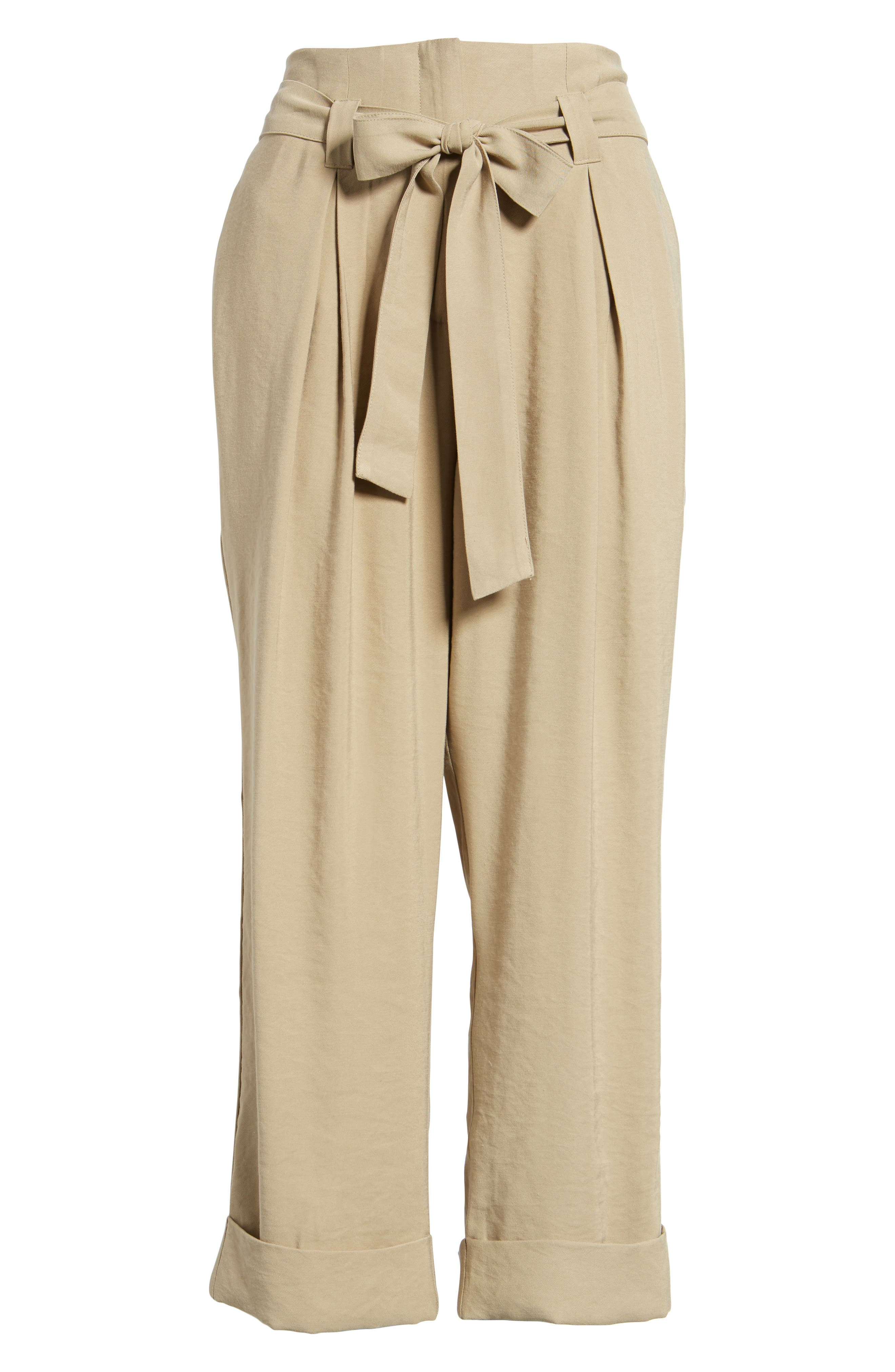 High Waist Tie Front Cropped Pants,                             Alternate thumbnail 6, color,                             Latte