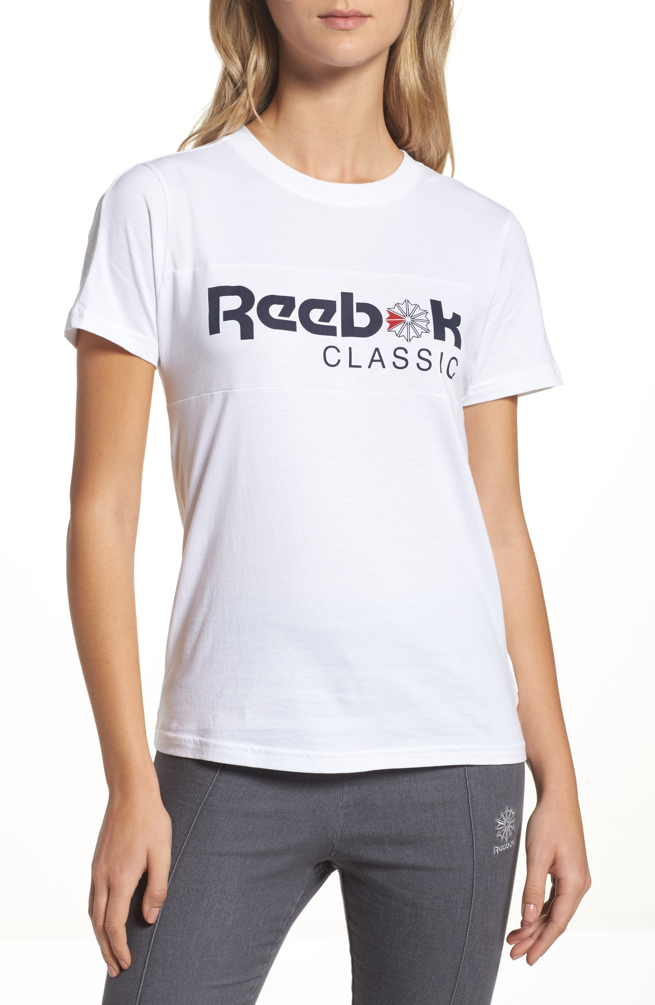 Graphic Tee,                             Main thumbnail 1, color,                             White/ Collegiate Navy