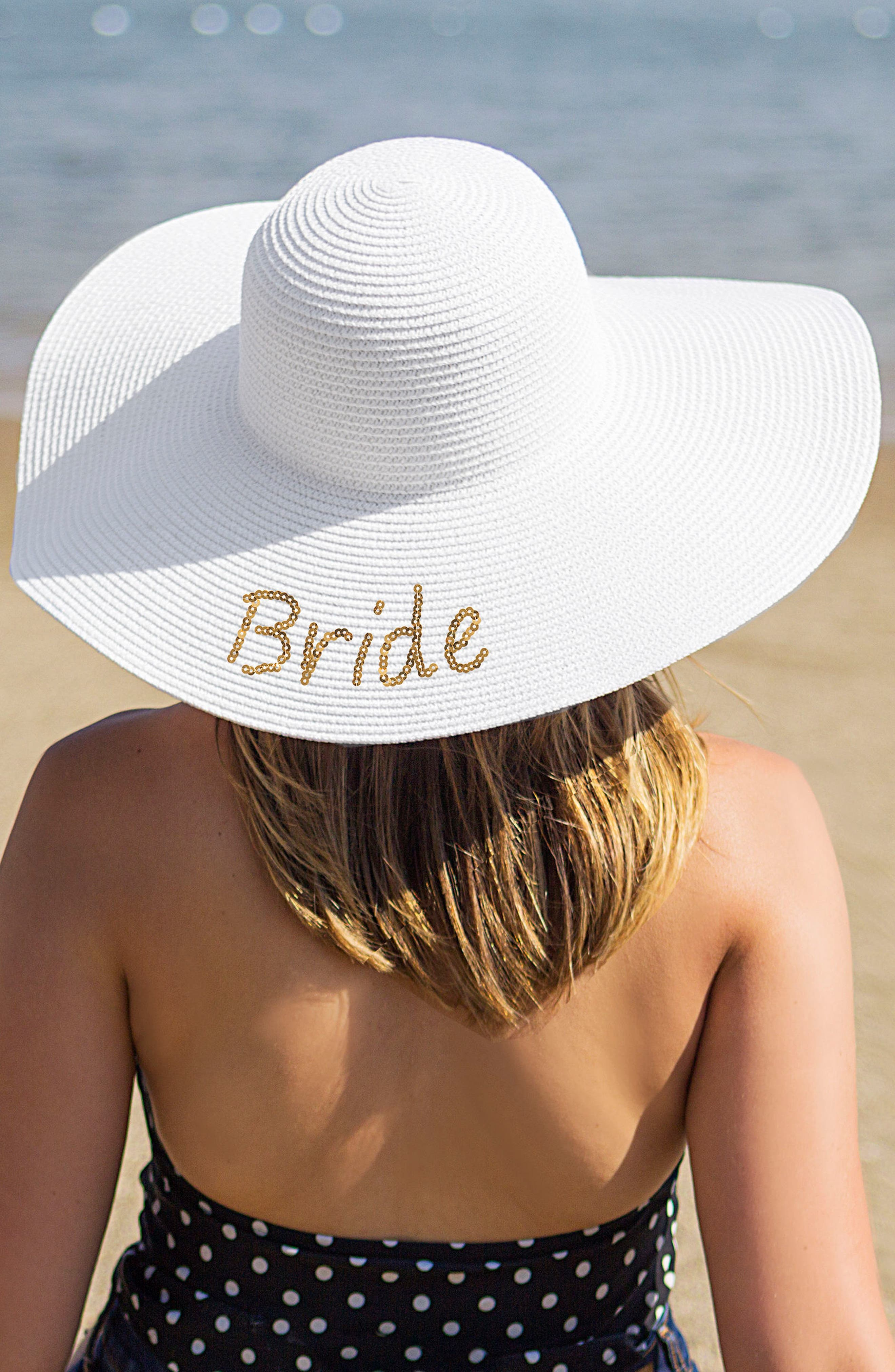 Bride Sequin Straw Hat,                             Main thumbnail 1, color,                             Gold