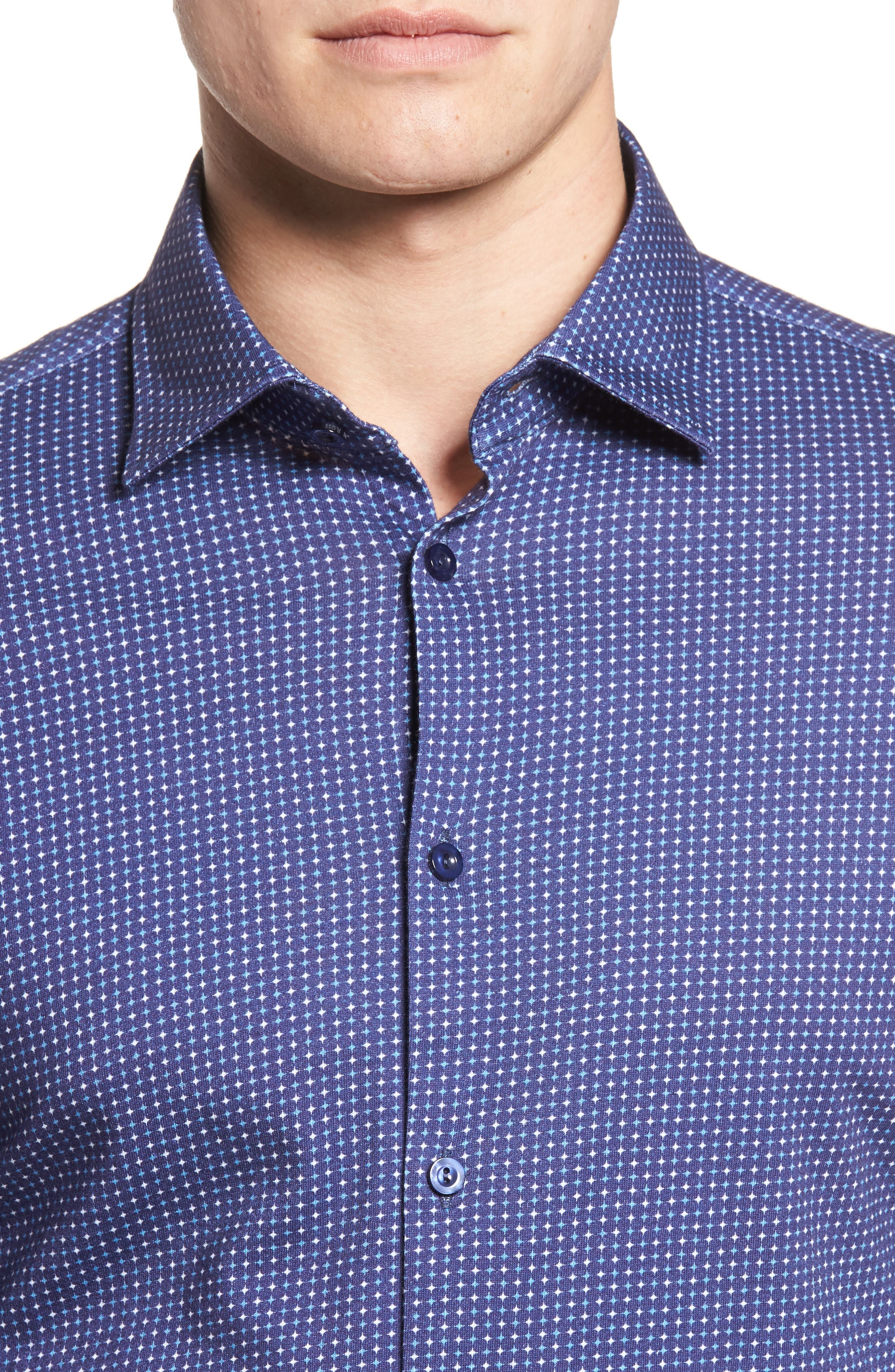 Star Geo Print Jersey Sport Shirt,                             Alternate thumbnail 2, color,                             Navy