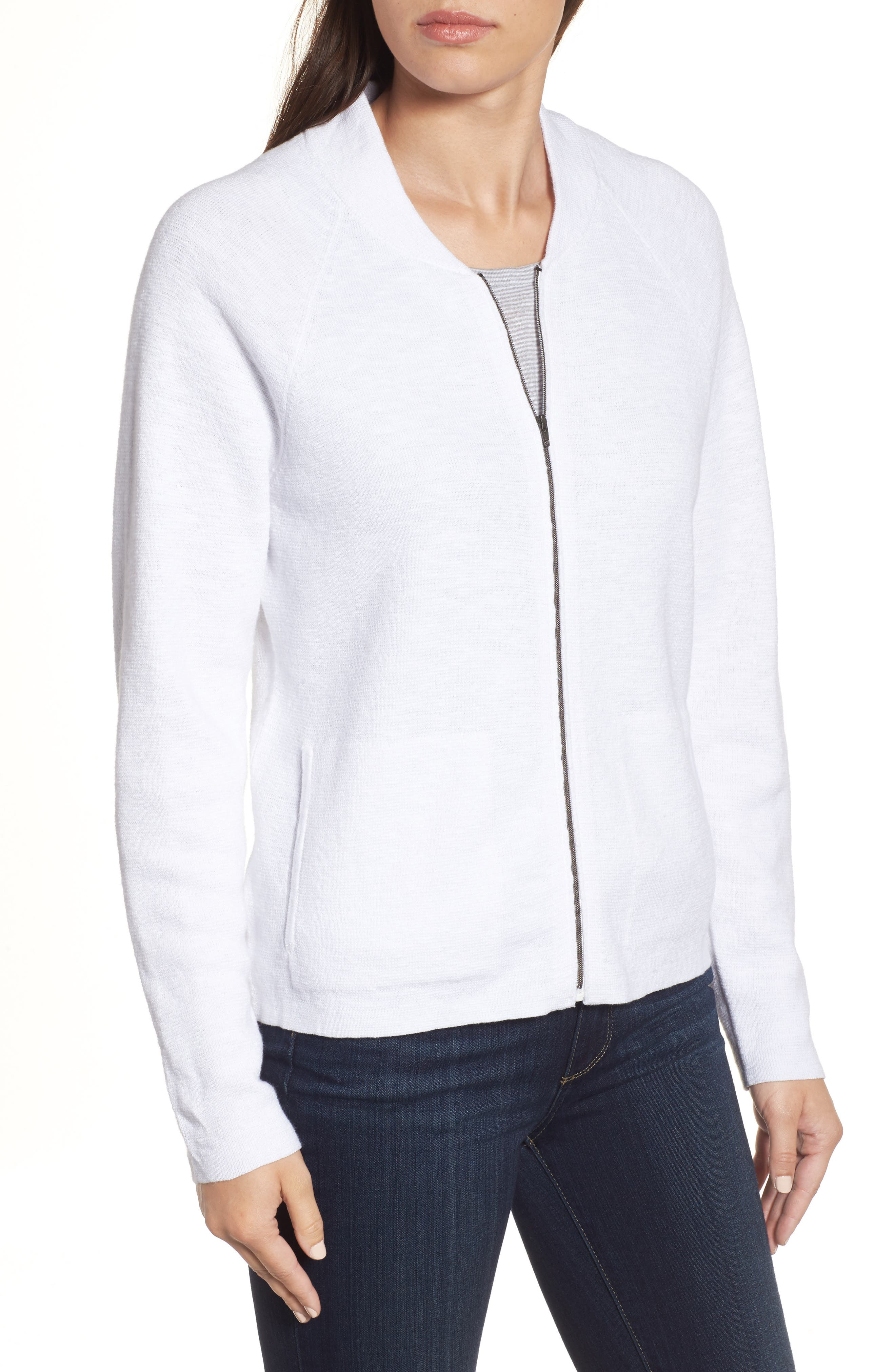 Organic Linen & Cotton Bomber Cardigan,                             Alternate thumbnail 4, color,                             White