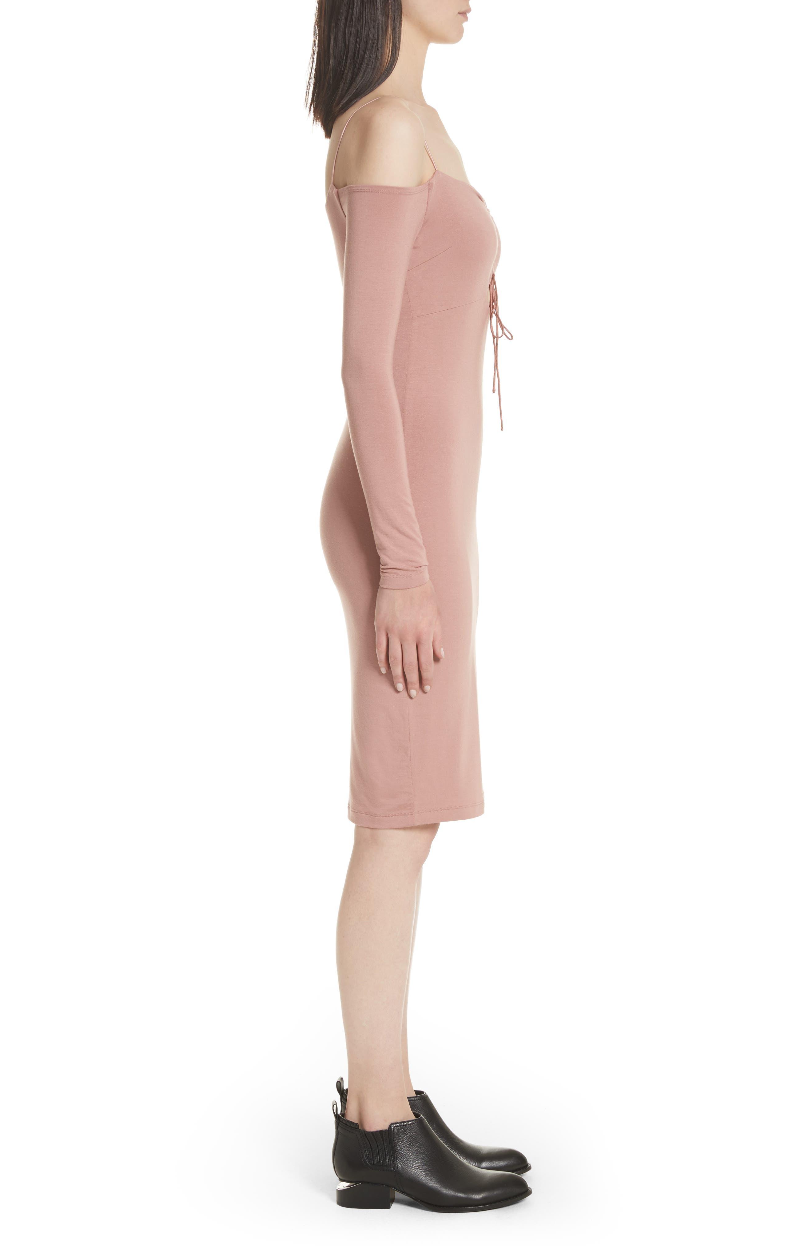 Stretch Jersey Cold Shoulder Dress,                             Alternate thumbnail 3, color,                             Guava