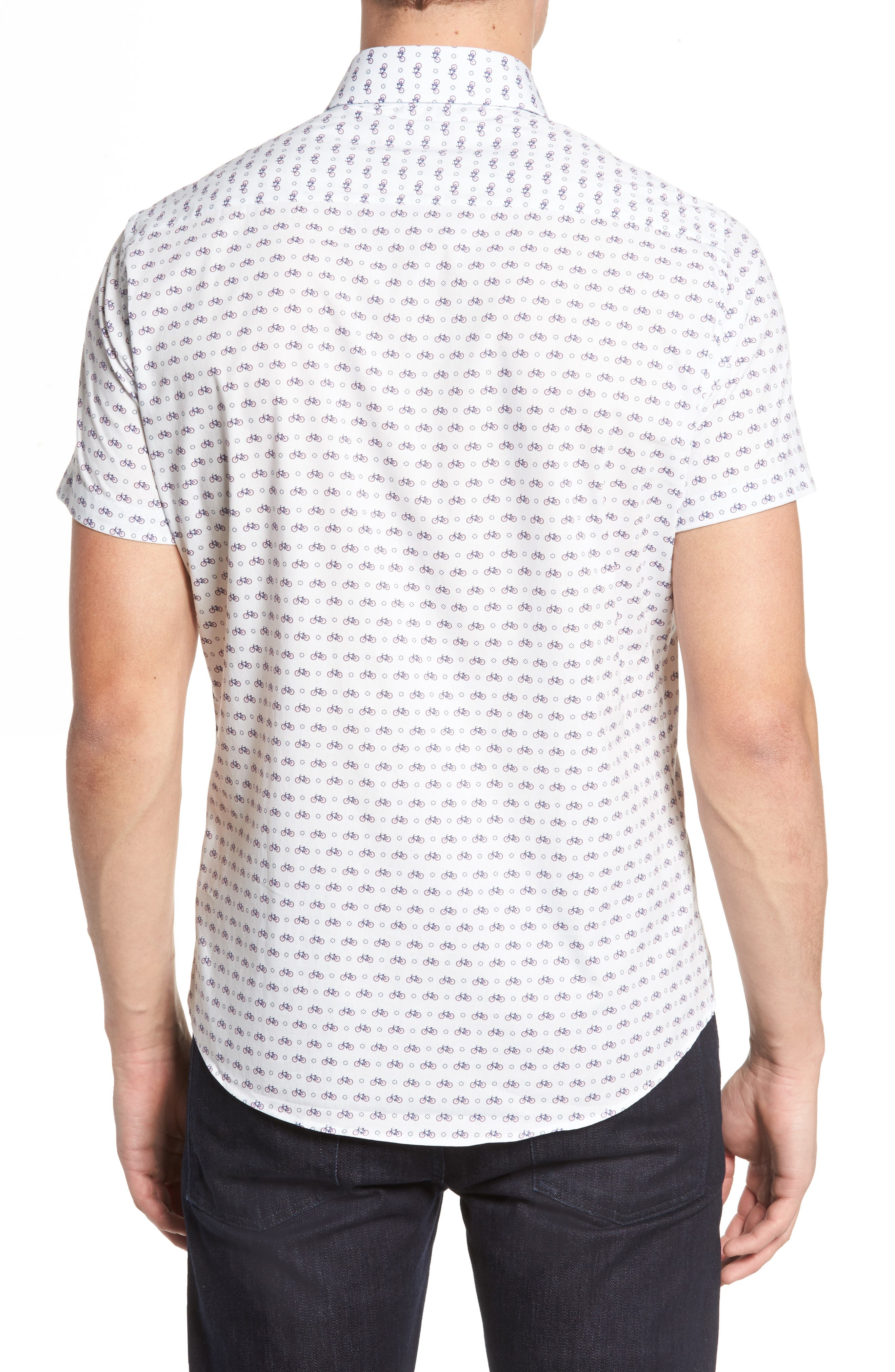 Slim Fit Bicycle Print Sport Shirt,                             Alternate thumbnail 2, color,                             White