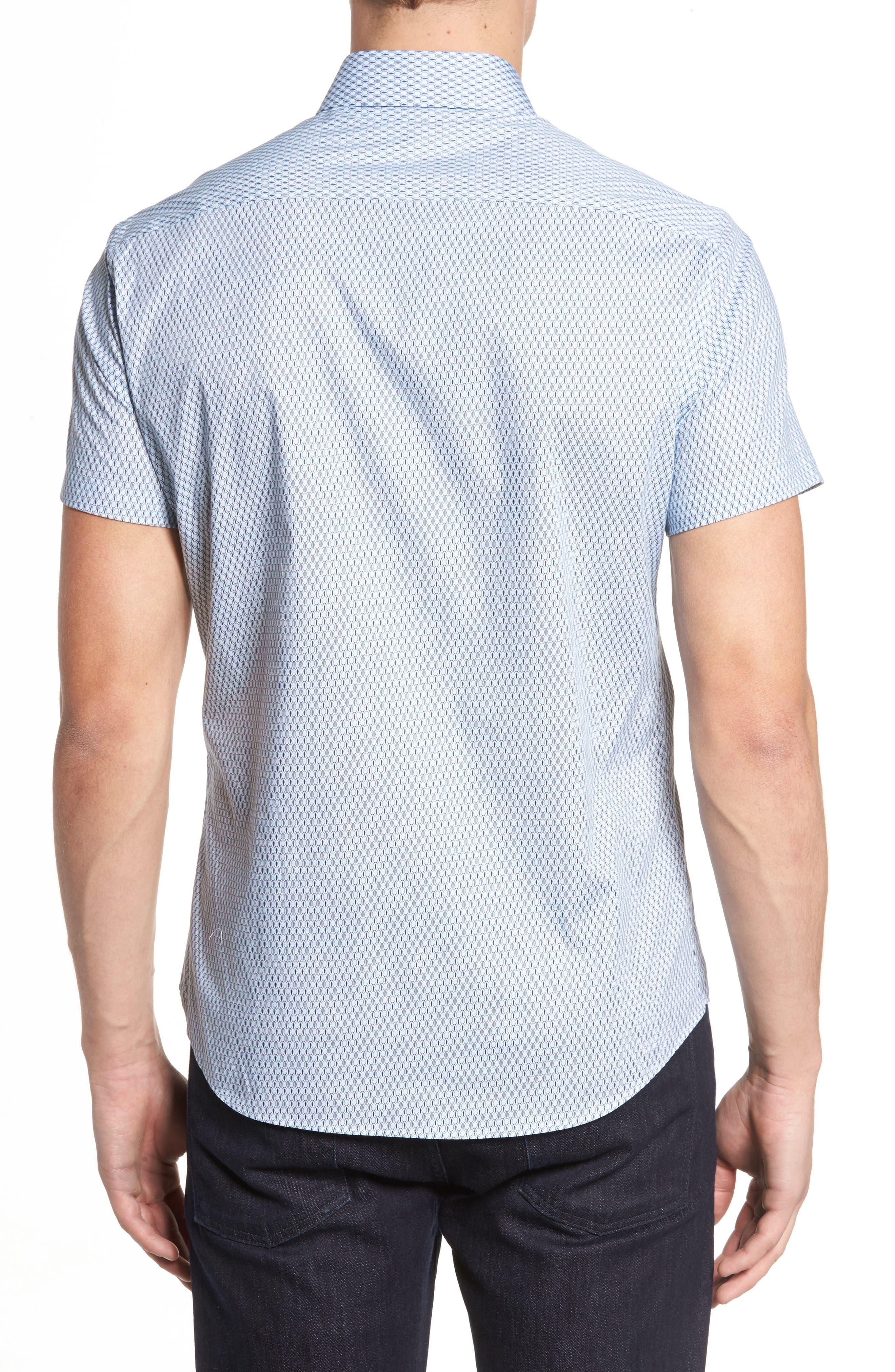 Slim Fit Tennis Racquet Print Sport Shirt,                             Alternate thumbnail 2, color,                             Blue